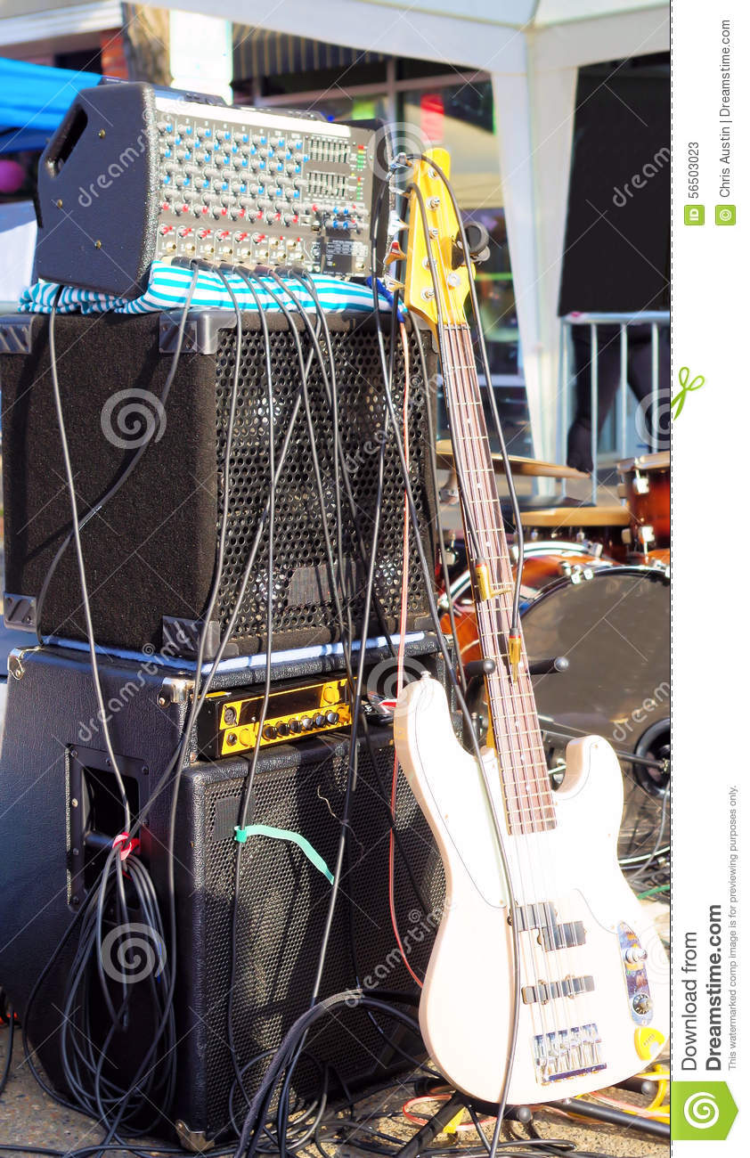 B Guitar With Amp And Rack Stock Image - Image of amplifier ...