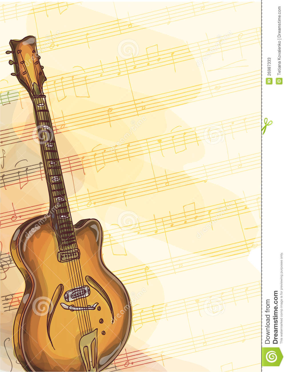 bass guitar on background with handmade notes  stock