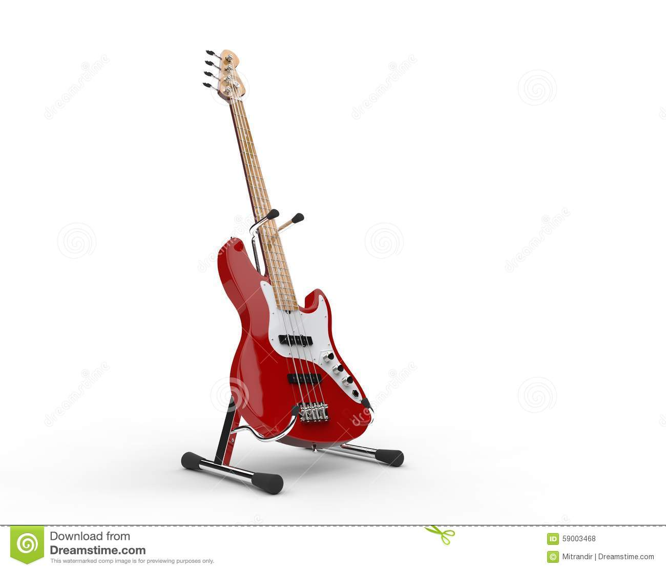 Bass Guitar On The Stand rouge