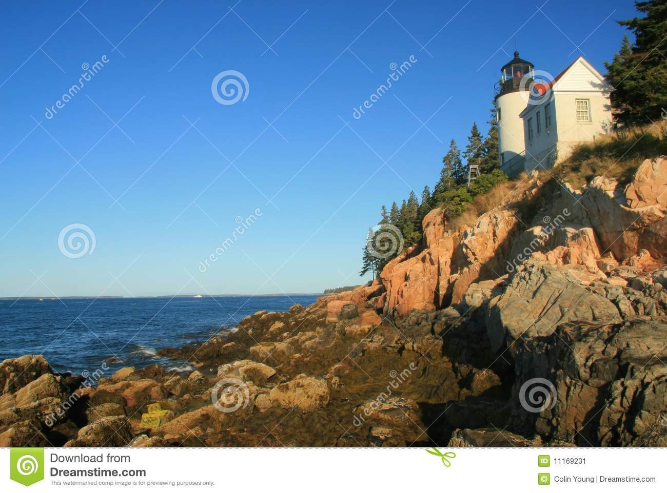 Bass Harbor Lighthouse At Low Tide Stock Image - Image: 11169231