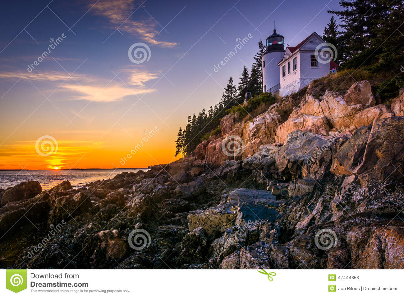 Bass Harbor Lighthouse at sunset, in Acadia National Park, Maine