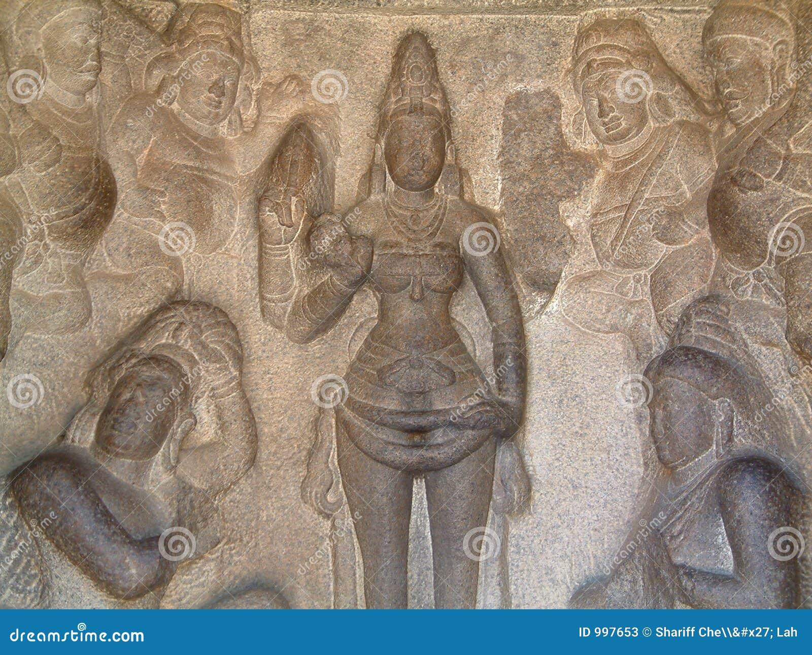 Basse-Allégement de temple de Mahabalipuram