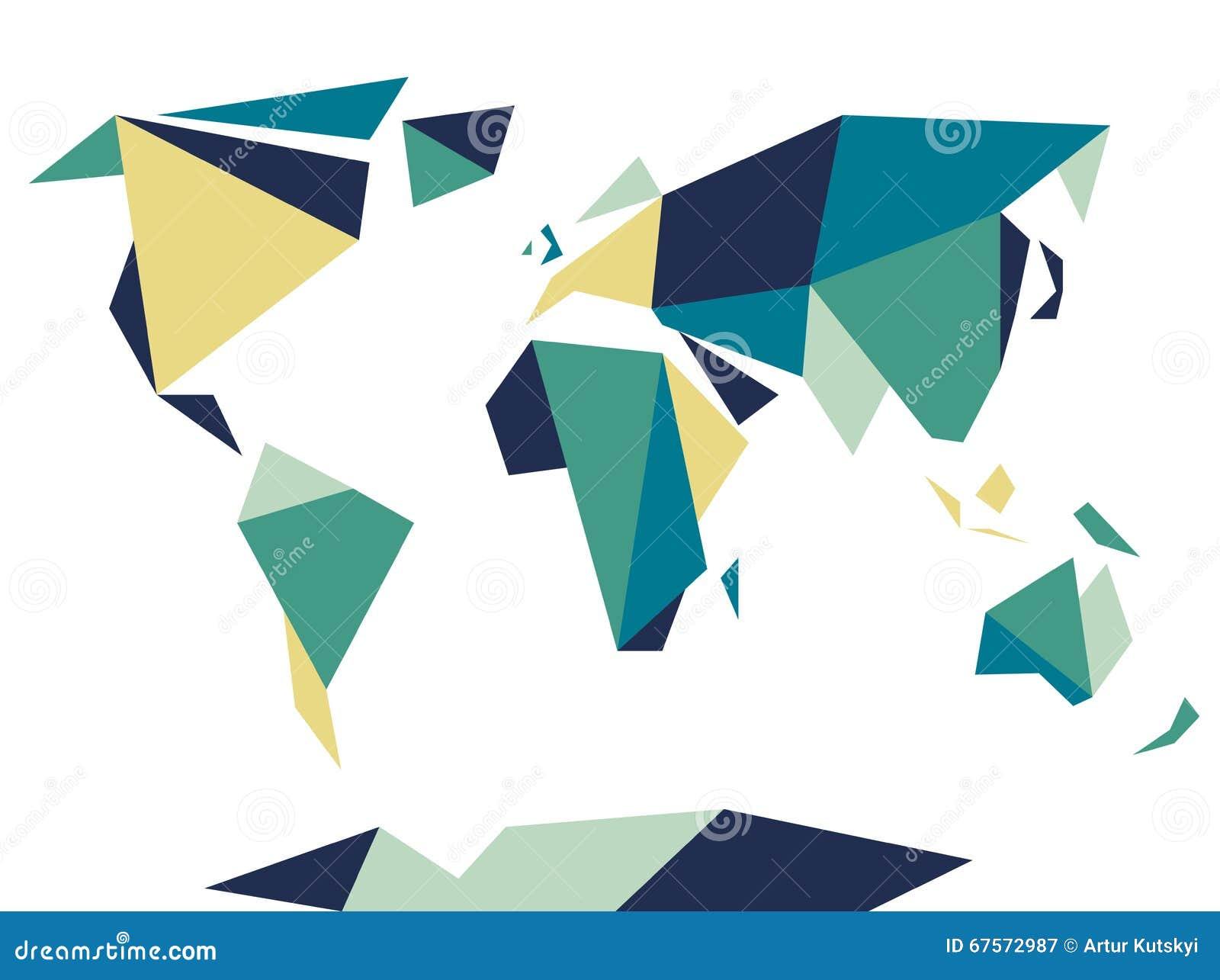 Carte Du Monde Origami.Basse Carte Polygonale Du Monde De Style D Origami Descripteur