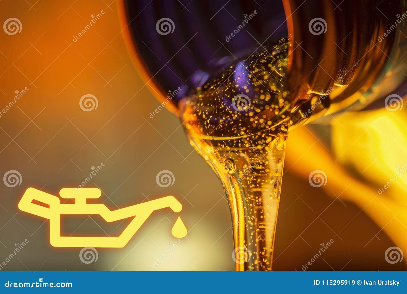 Basse lampe de pression d huile et courant de liquide des écoulements d huile de moteur de moto du cou du plan rapproché de boute