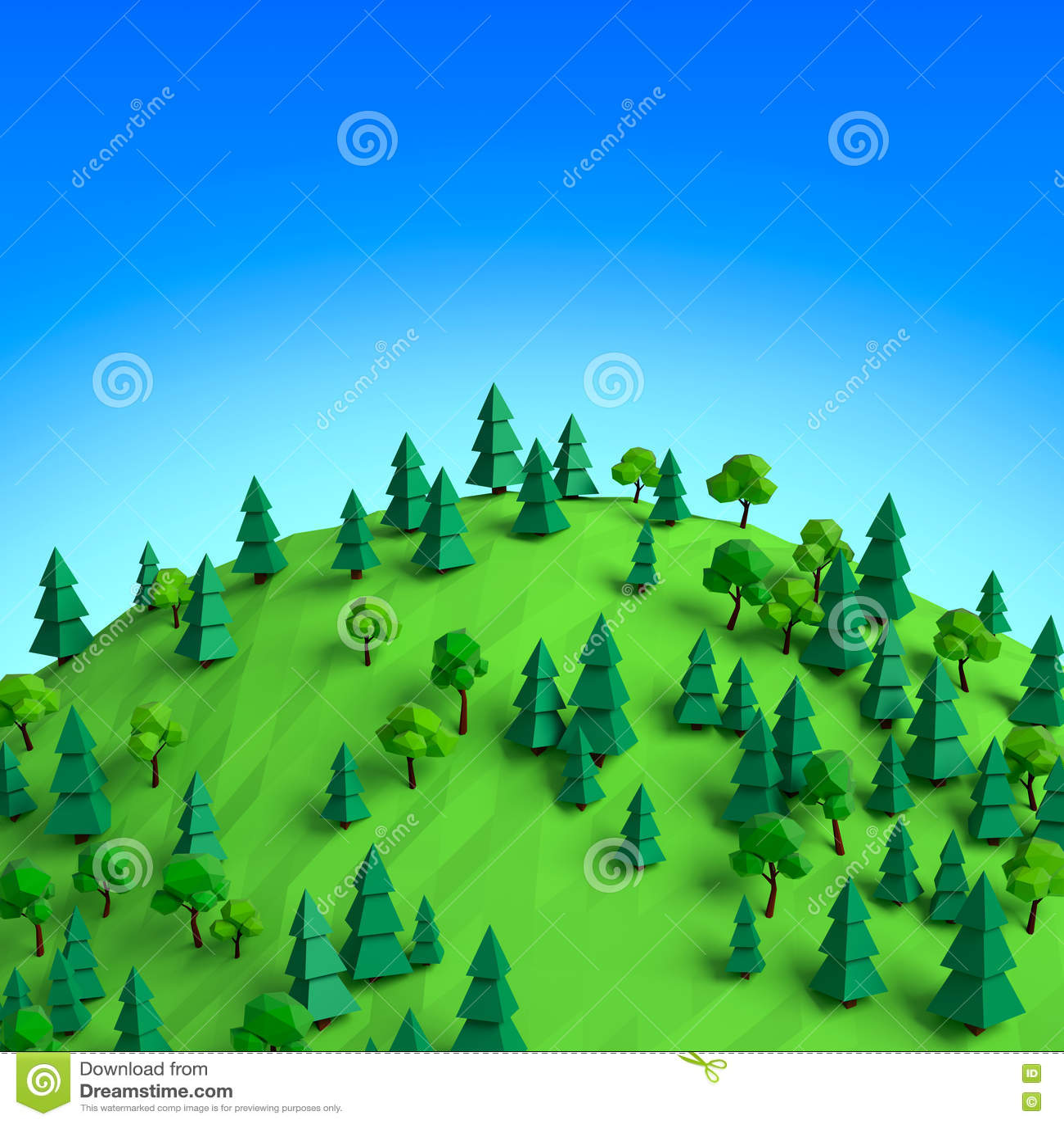 Basse poly forêt 3D d été sur l illustration de colline