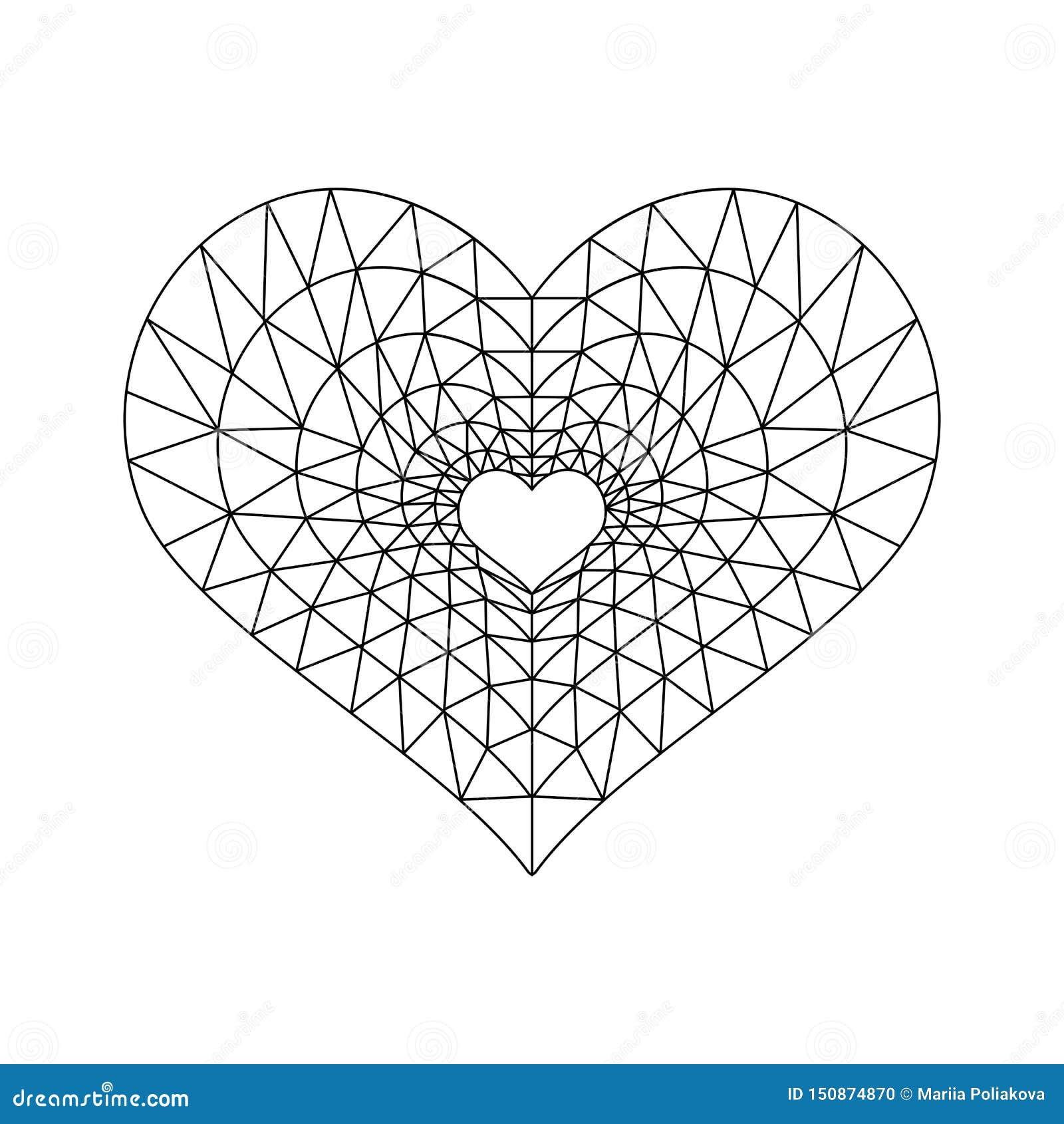 Basse poly ligne noir de coeur