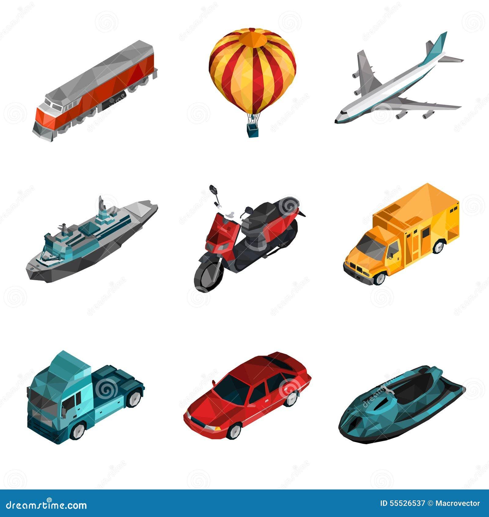 Basses poly icônes de transport