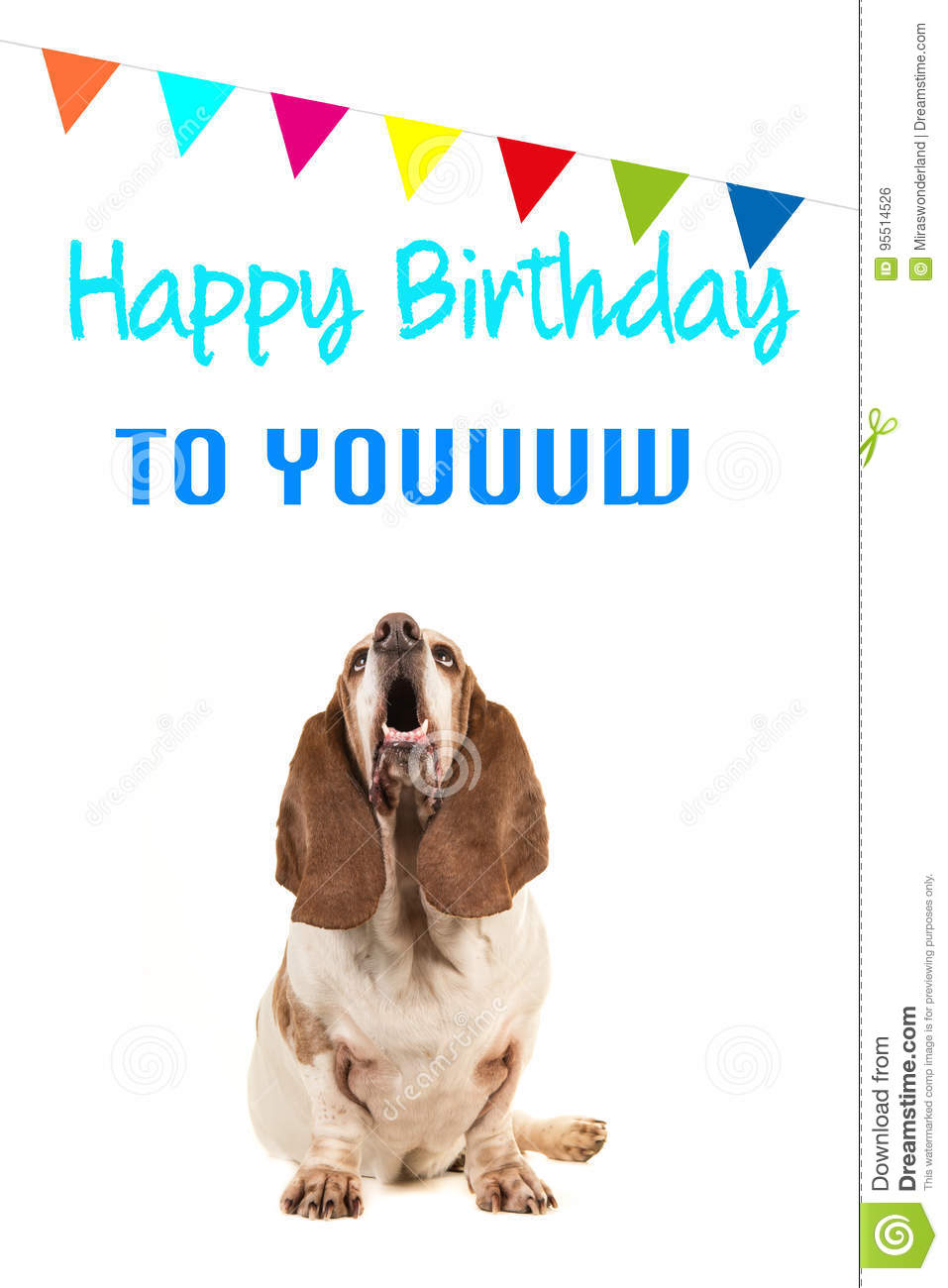 Basset Hound Looking Up And Singing Text Happy Birthday To You On A Card