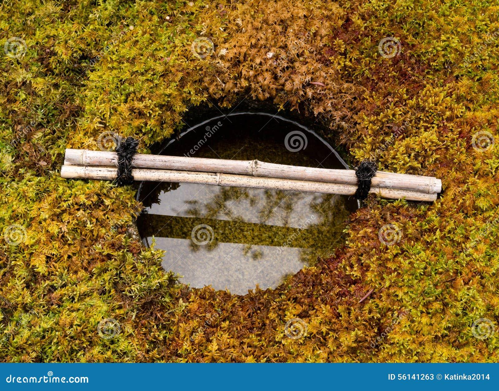 Bassin En Pierre De L\'eau Dans Un Jardin Japonais Image stock ...