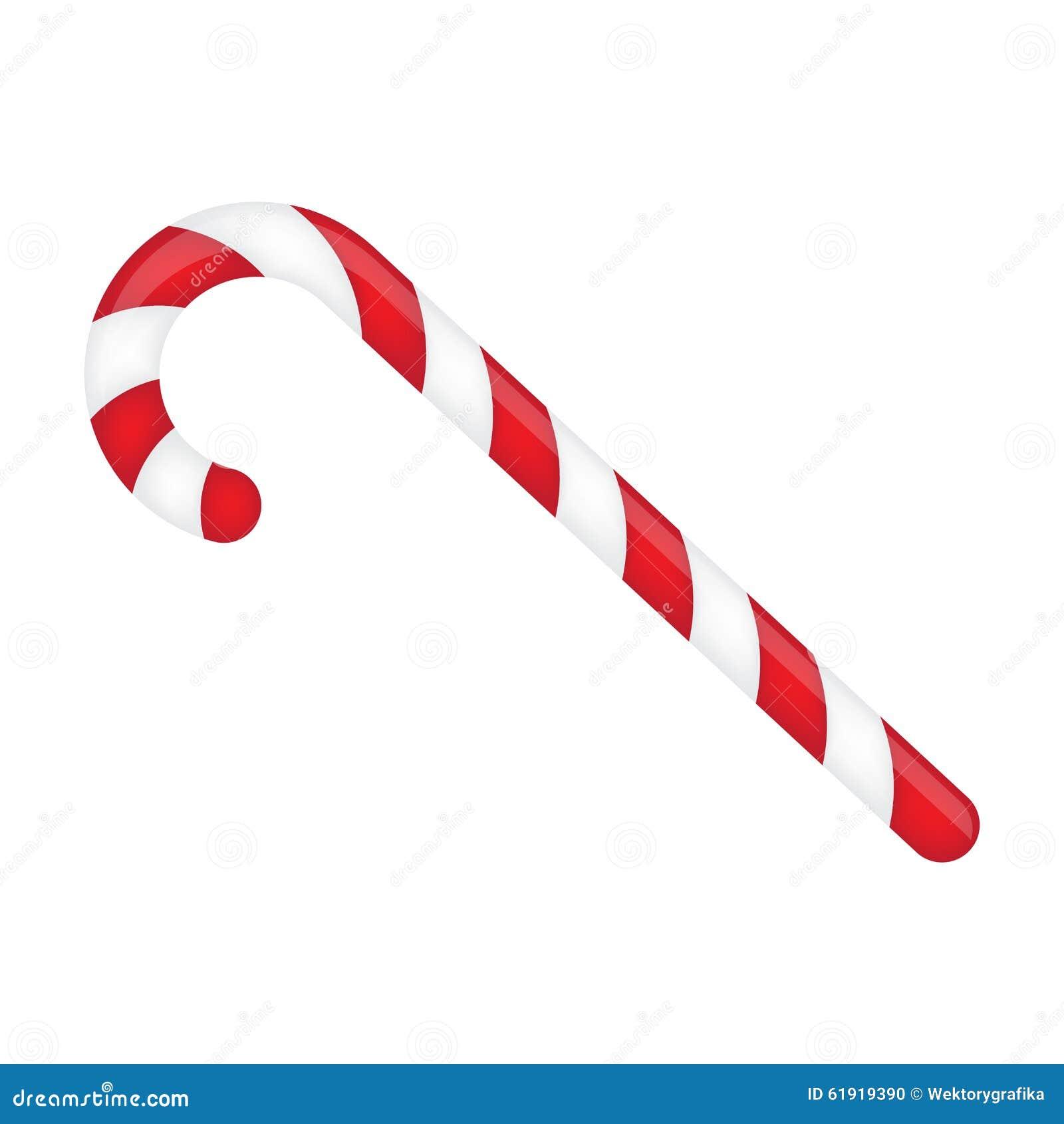 Bastão de doces listrado em cores do Natal Ilustração do vetor isolada em um fundo branco