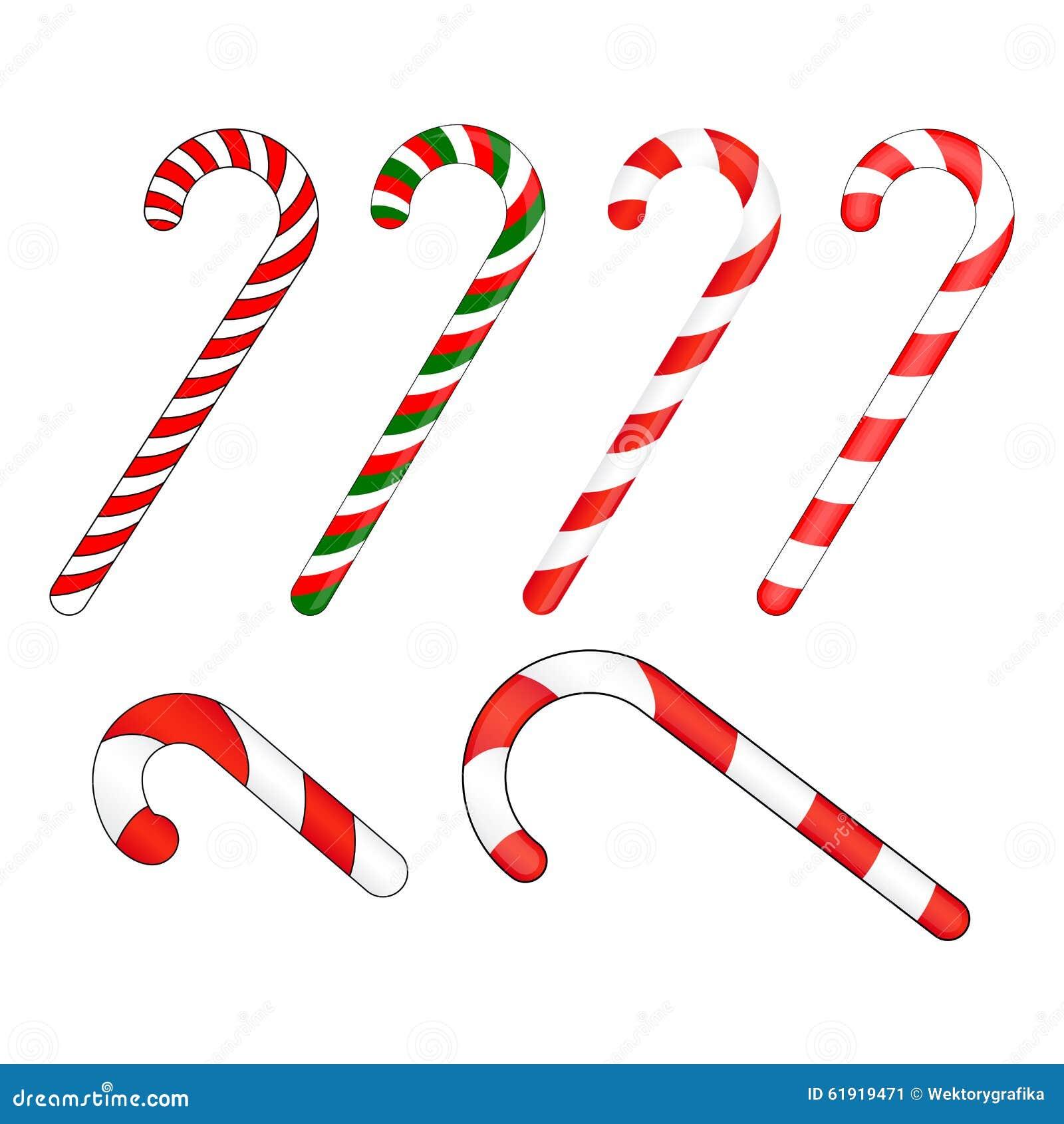 Bastón De Caramelo Rayado En Colores De La Navidad Ilustración Del ...
