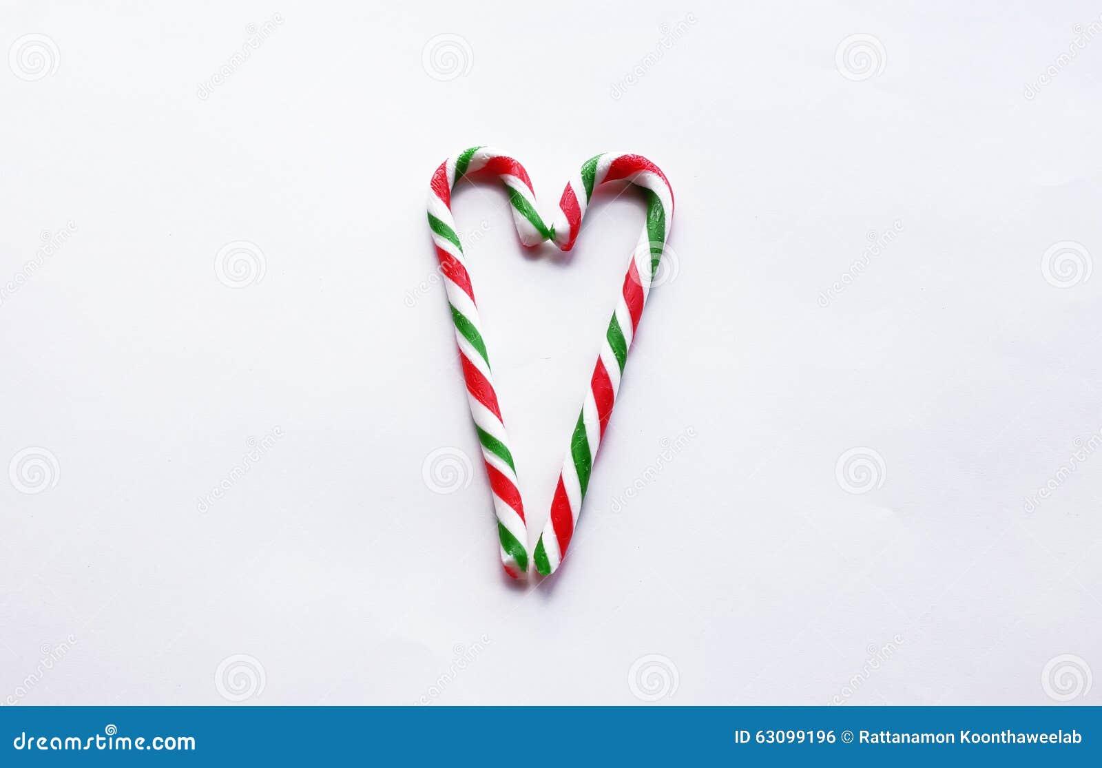 Bastón Rojo Y Verde De La Navidad De Caramelo Con En Forma De ...