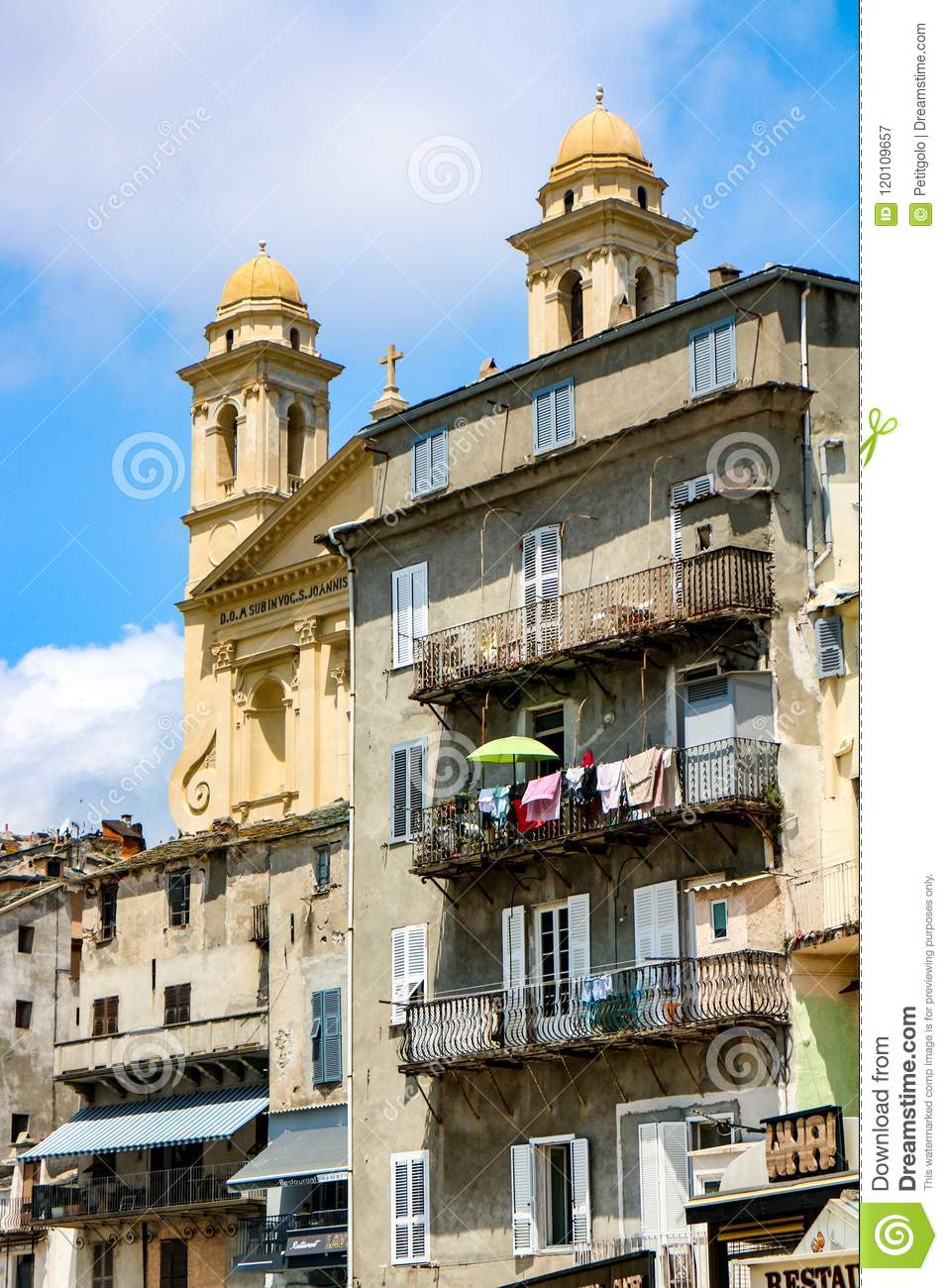 Bastia Vieux Port Downtown Stock Image Image Of Street Statue