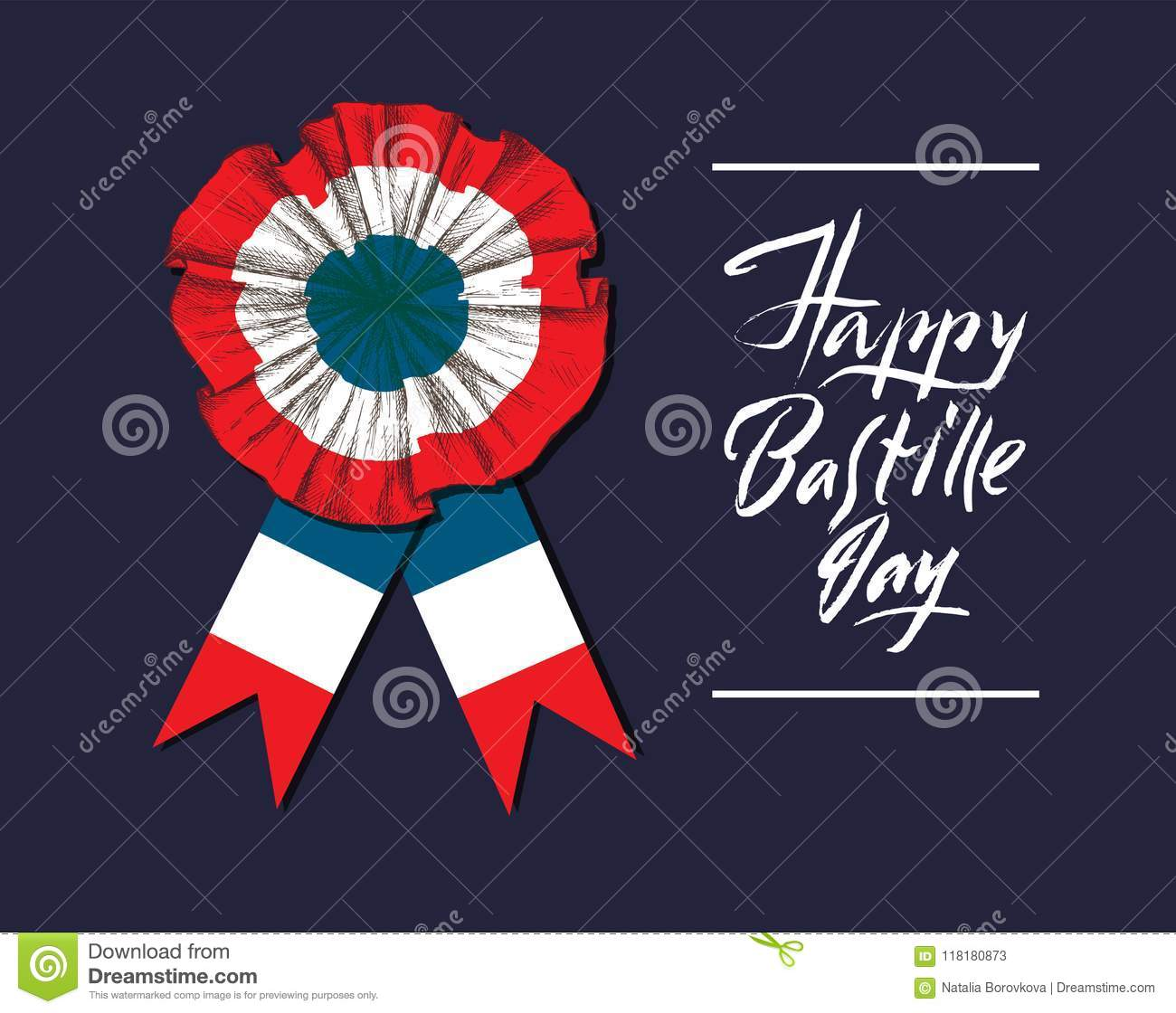 Bastille Day  Badge And Ribbon  The French Tricolor, The Colors Of