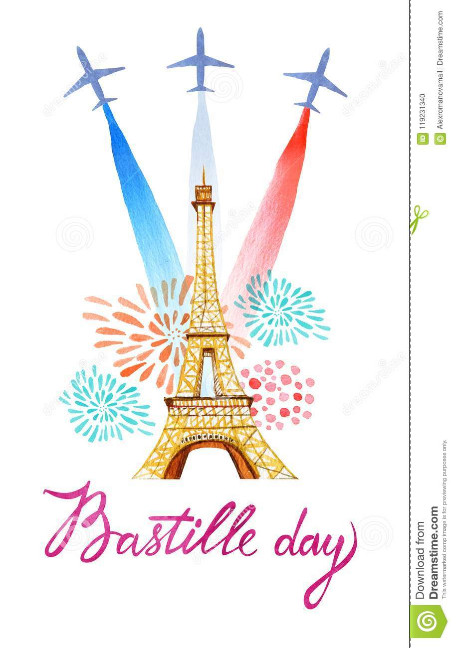 Bastille Day French National Day Greeting Card And Poster Design