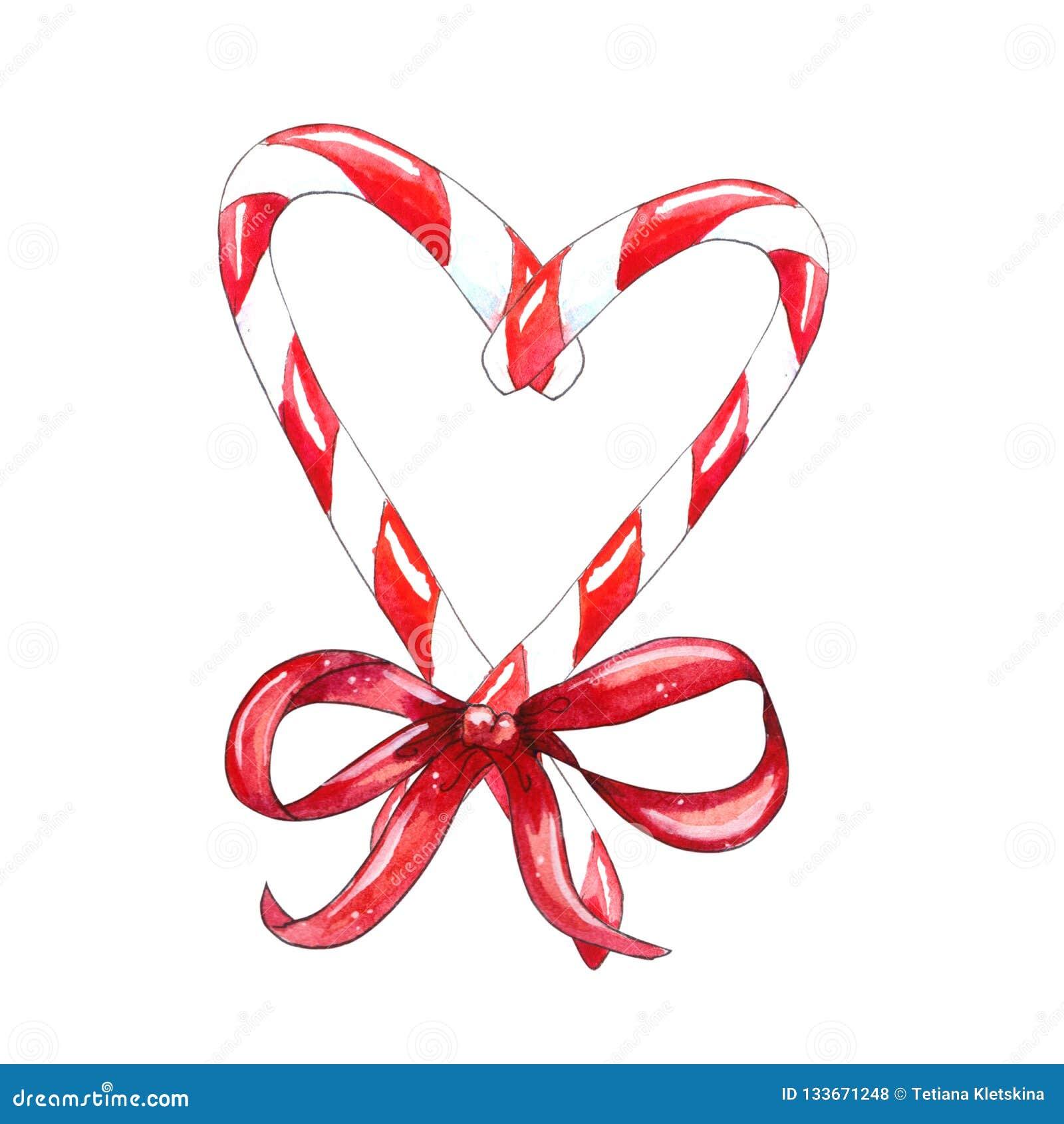 Bastoncino di zucchero di Natale con l arco rosso