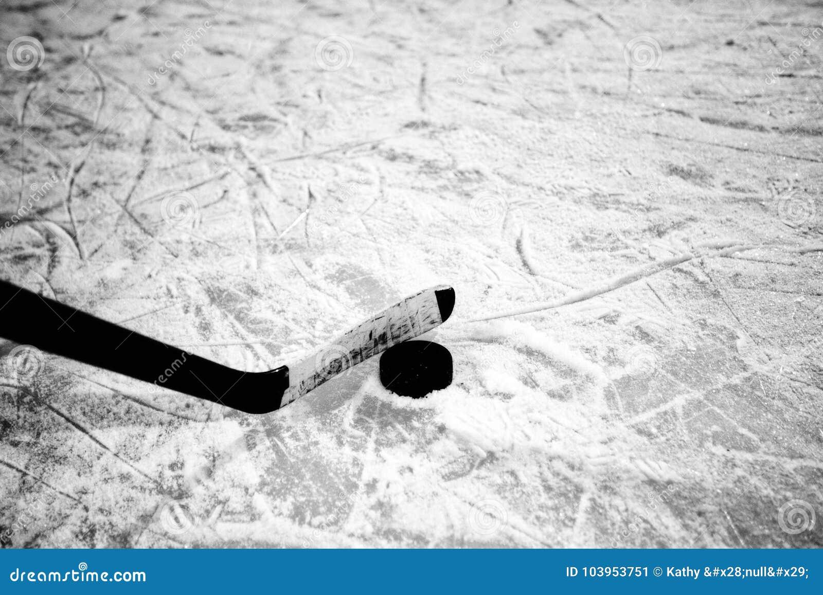 Bastone e disco di hockey su ghiaccio