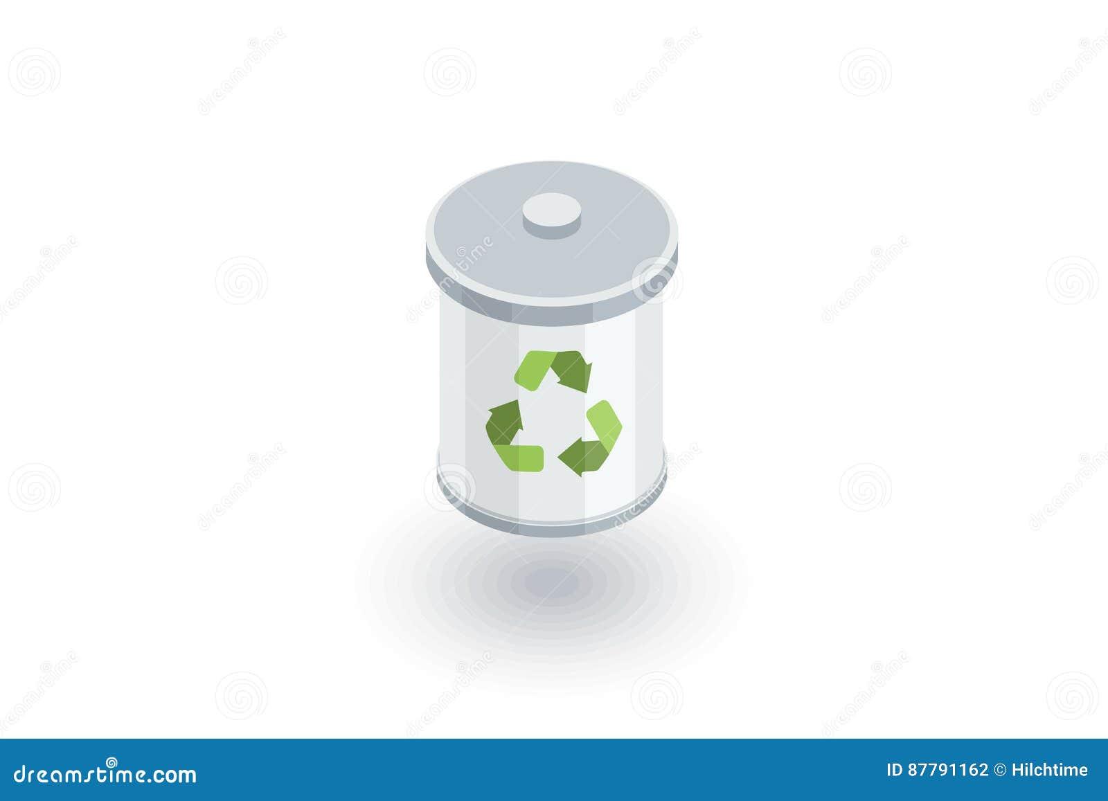Basura que recicla el icono plano isométrico vector 3d