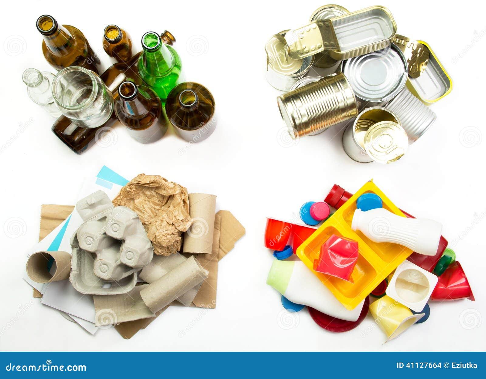 Basura segregada aliste para reciclar vidrio metal - Papel para vidrios ...