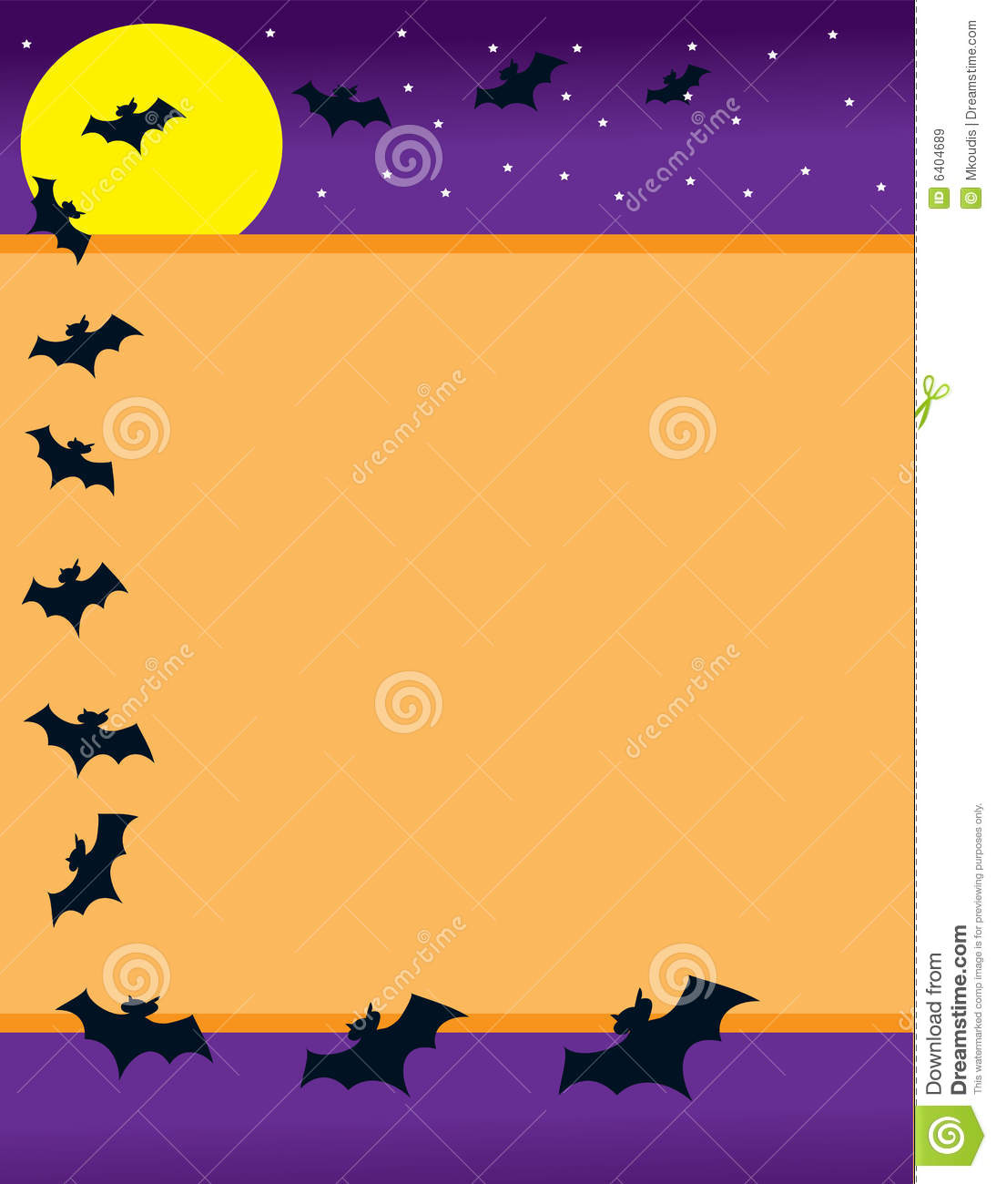 halloween background with a bright yellow moon, stars and a border ...