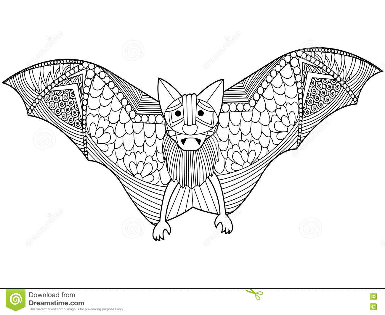 bat coloring book vector for adults stock vector image 71877576