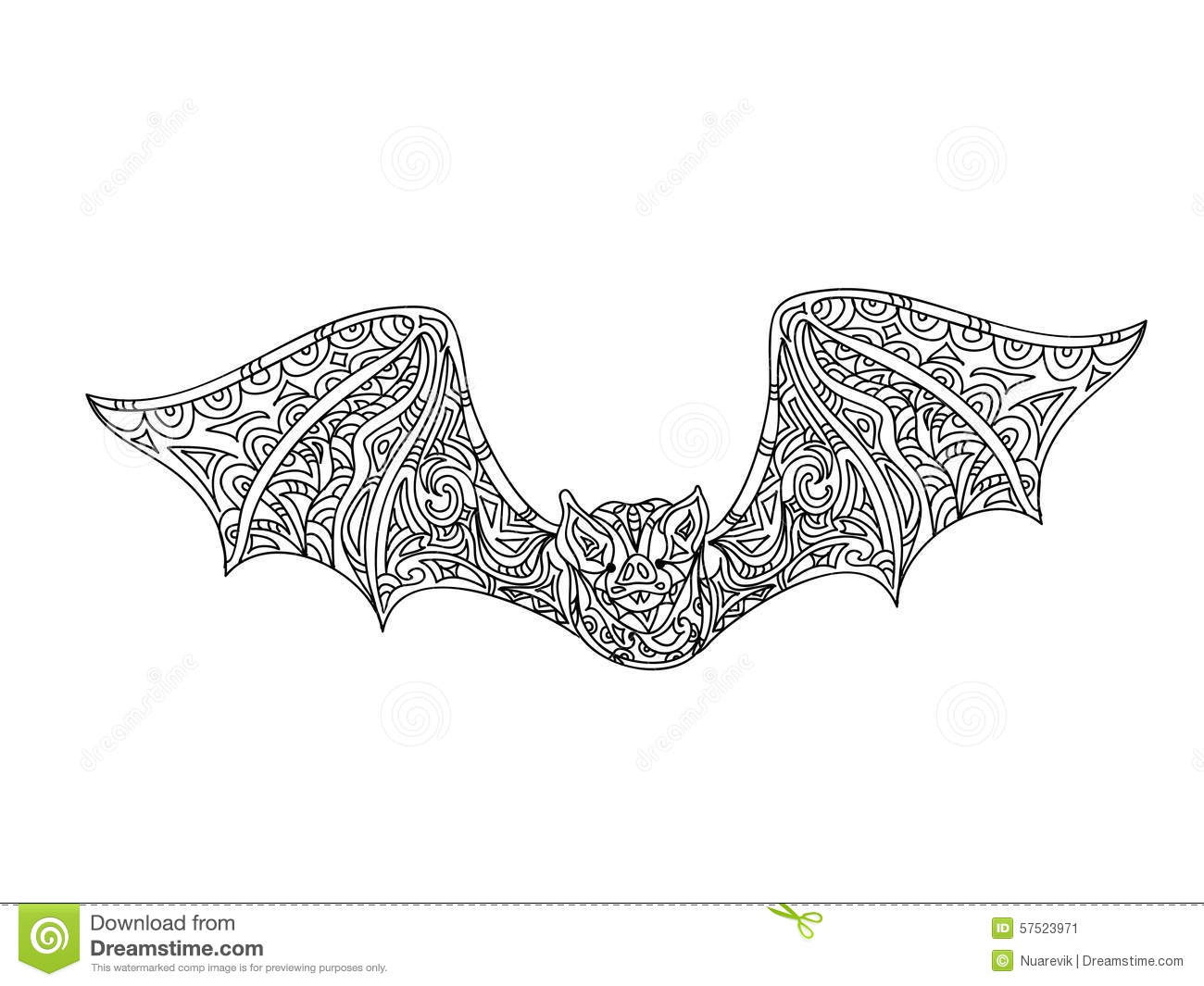 Bat Coloring Page Stock Illustration