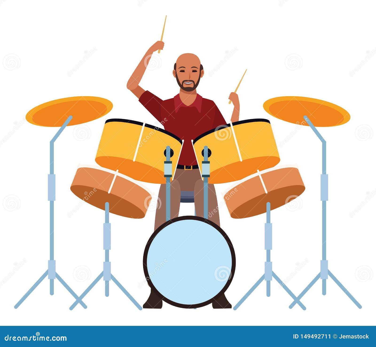 Bat du tambour du jeu de musicien