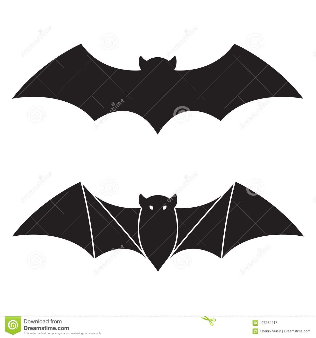 bat halloween icon logo doodle illustration character stock