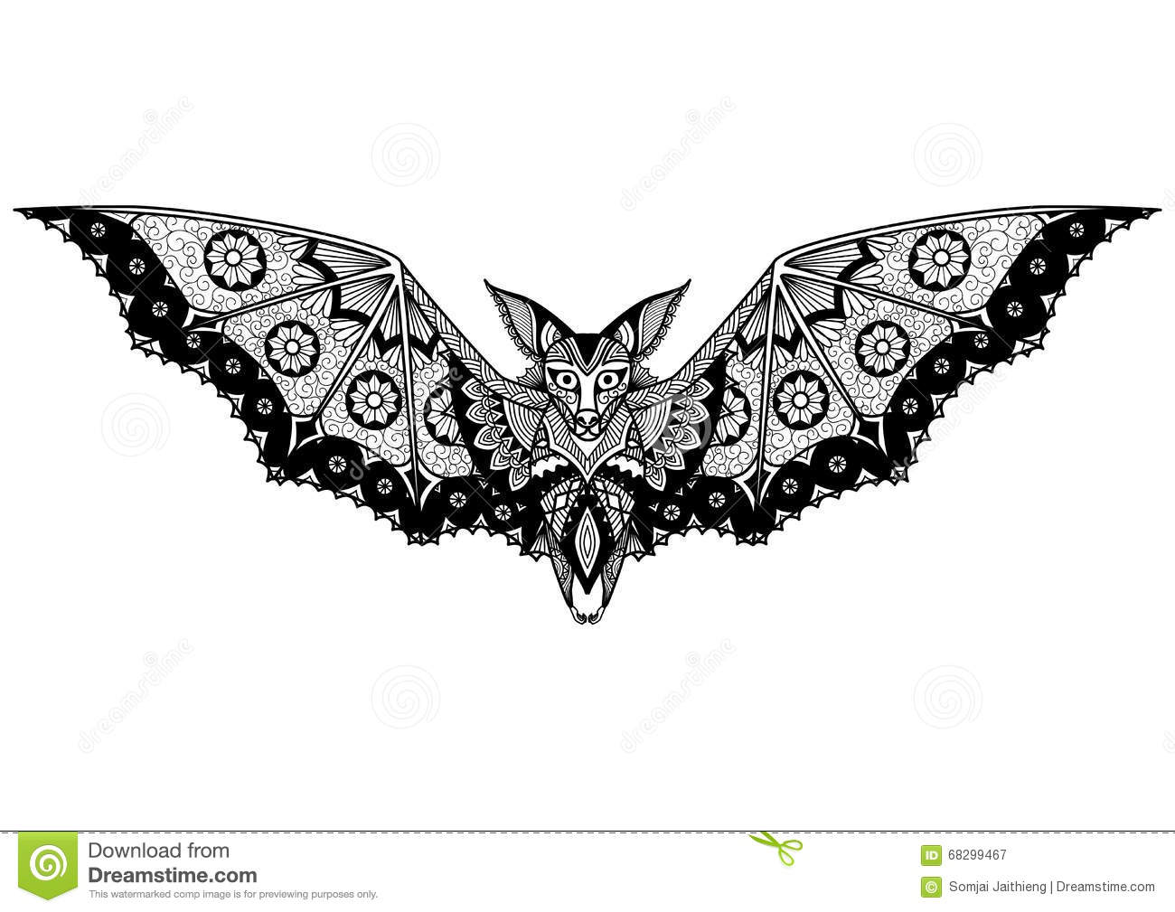 Line Art T Shirt Design : Bat tattoo vector illustration cartoondealer
