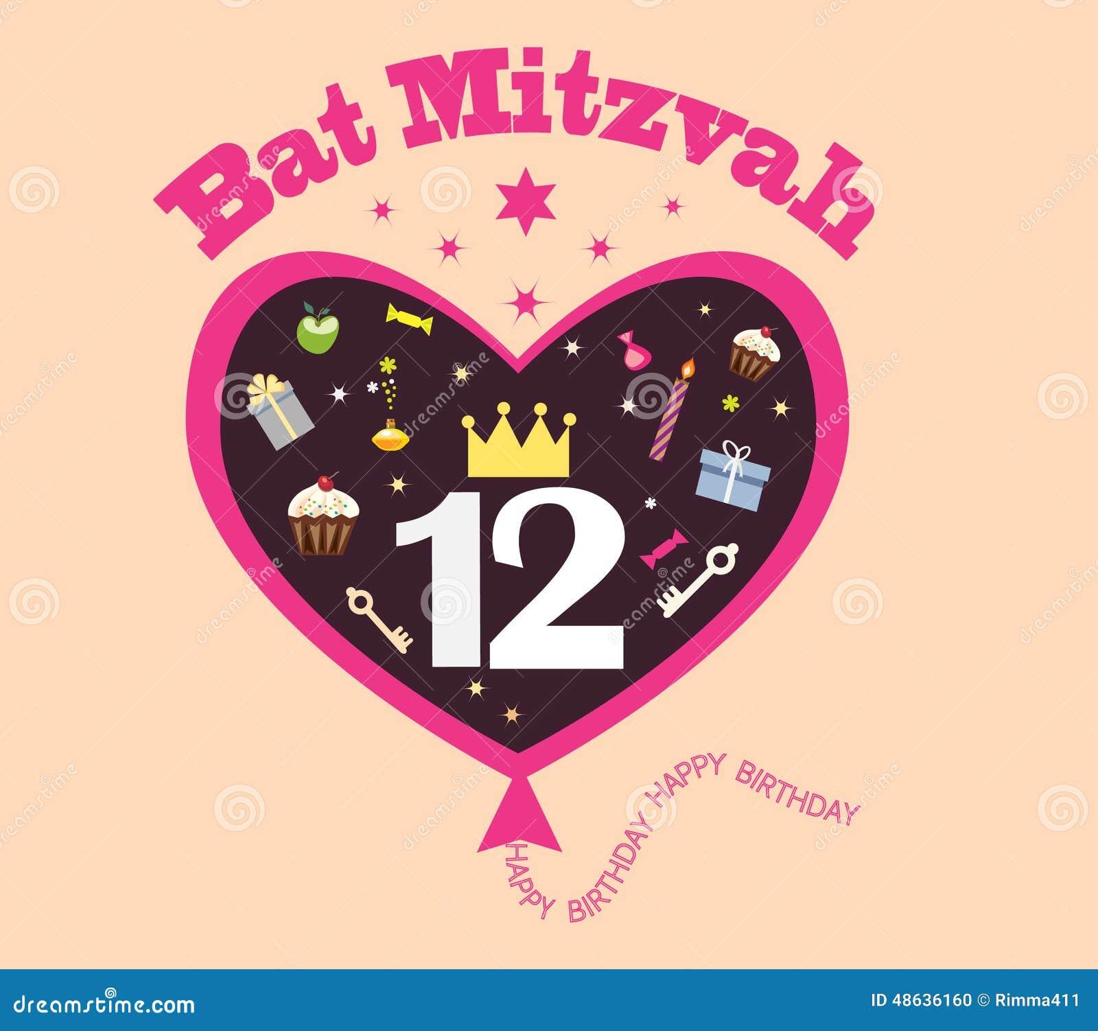 Birthday cards kids birthday cards happy birthday kids cards card - Bat Mitzvah Stock Illustration Image 48636160