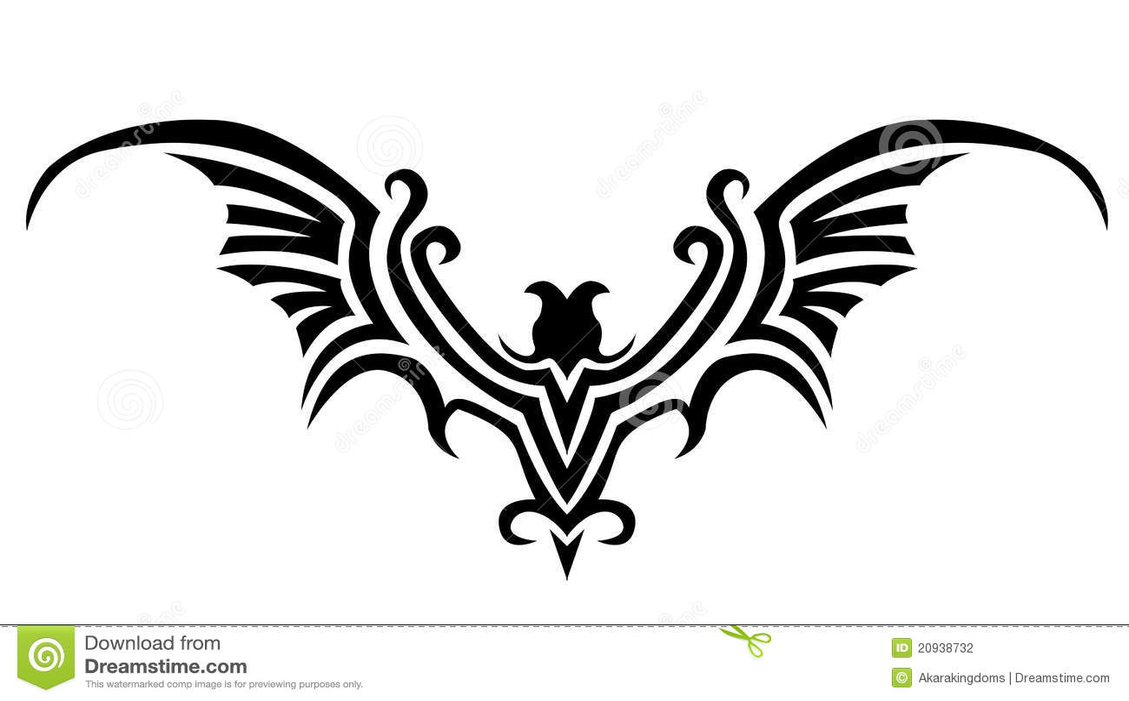 Bat tattoo stock vector illustration of heraldic freedom for Freedom tribal tattoos