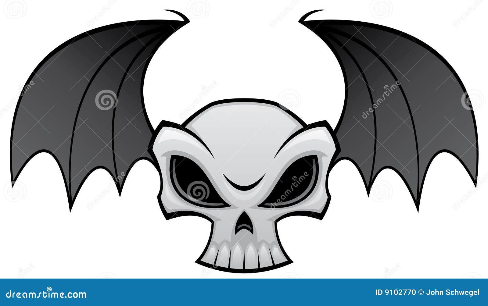 bat wing skull stock vector. illustration of vector, mean - 9102770
