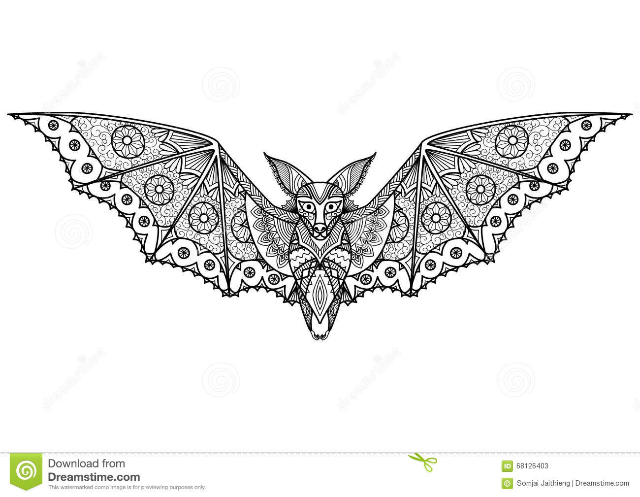 Bat Zentangle Stock Vector Image 68126403