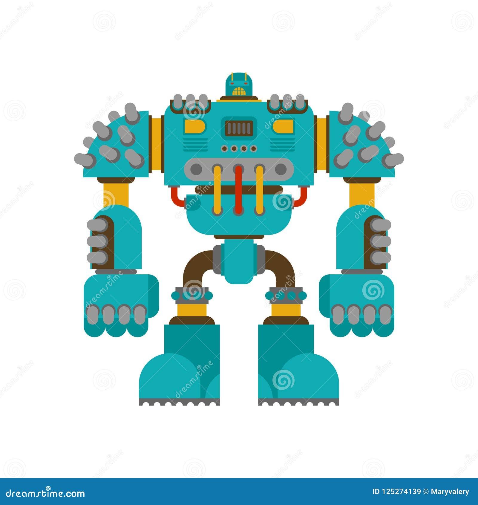 Bataille de robot d isolement Avenir de guerrier de cyborg Vecteur Illustratio