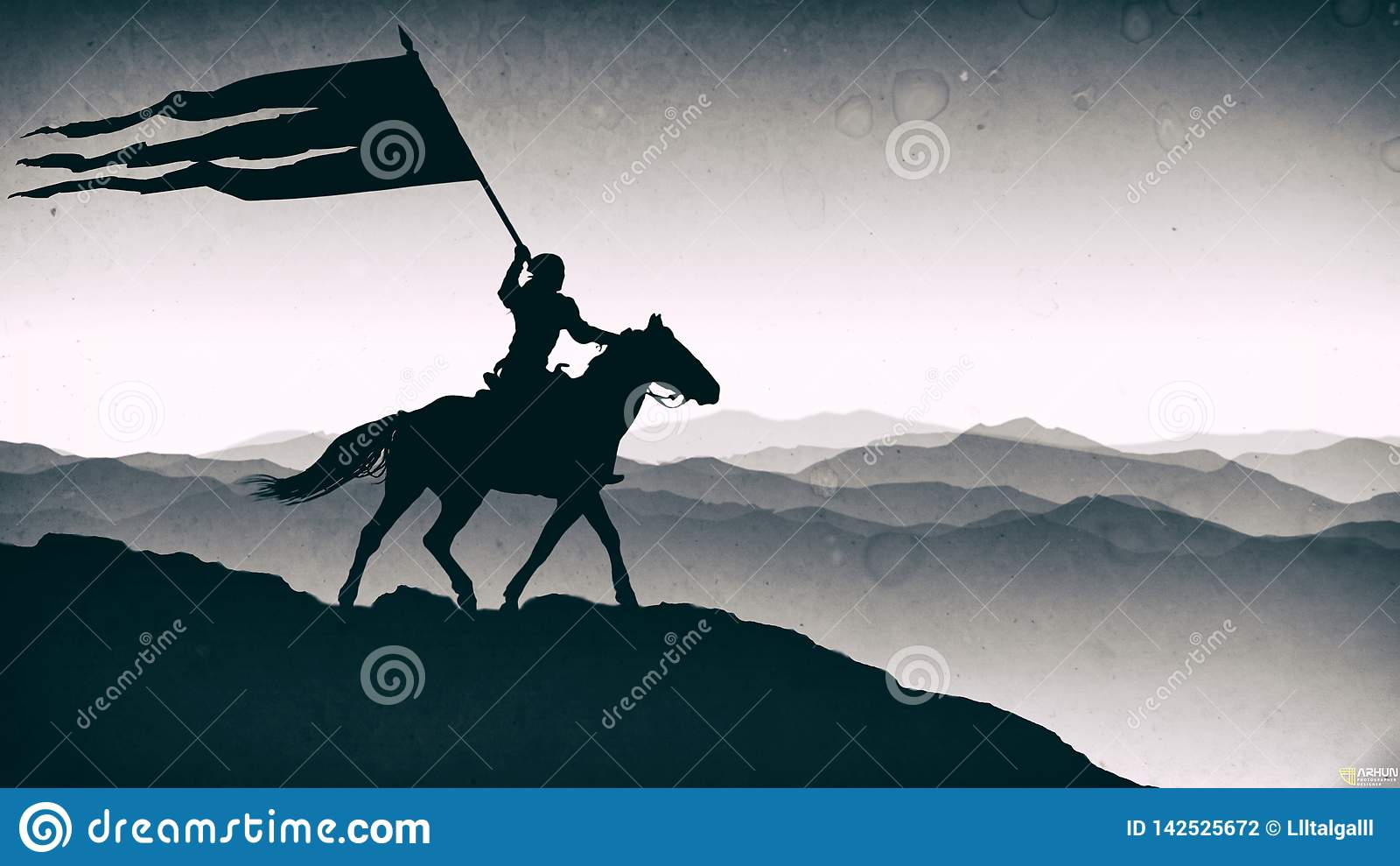 Batalha 'de Orbulak ' Pequim, foto preto e branco de China O guerreiro está guardando uma bandeira