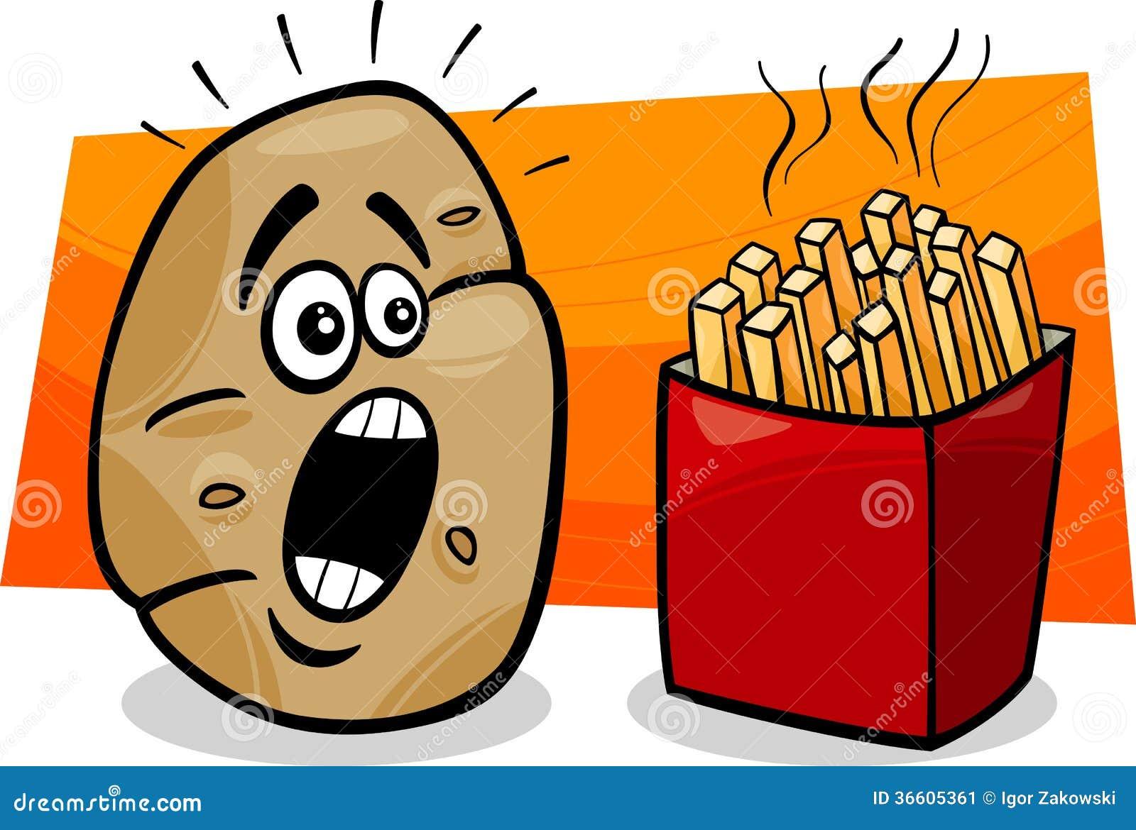 Batata com desenhos animados das batatas fritas