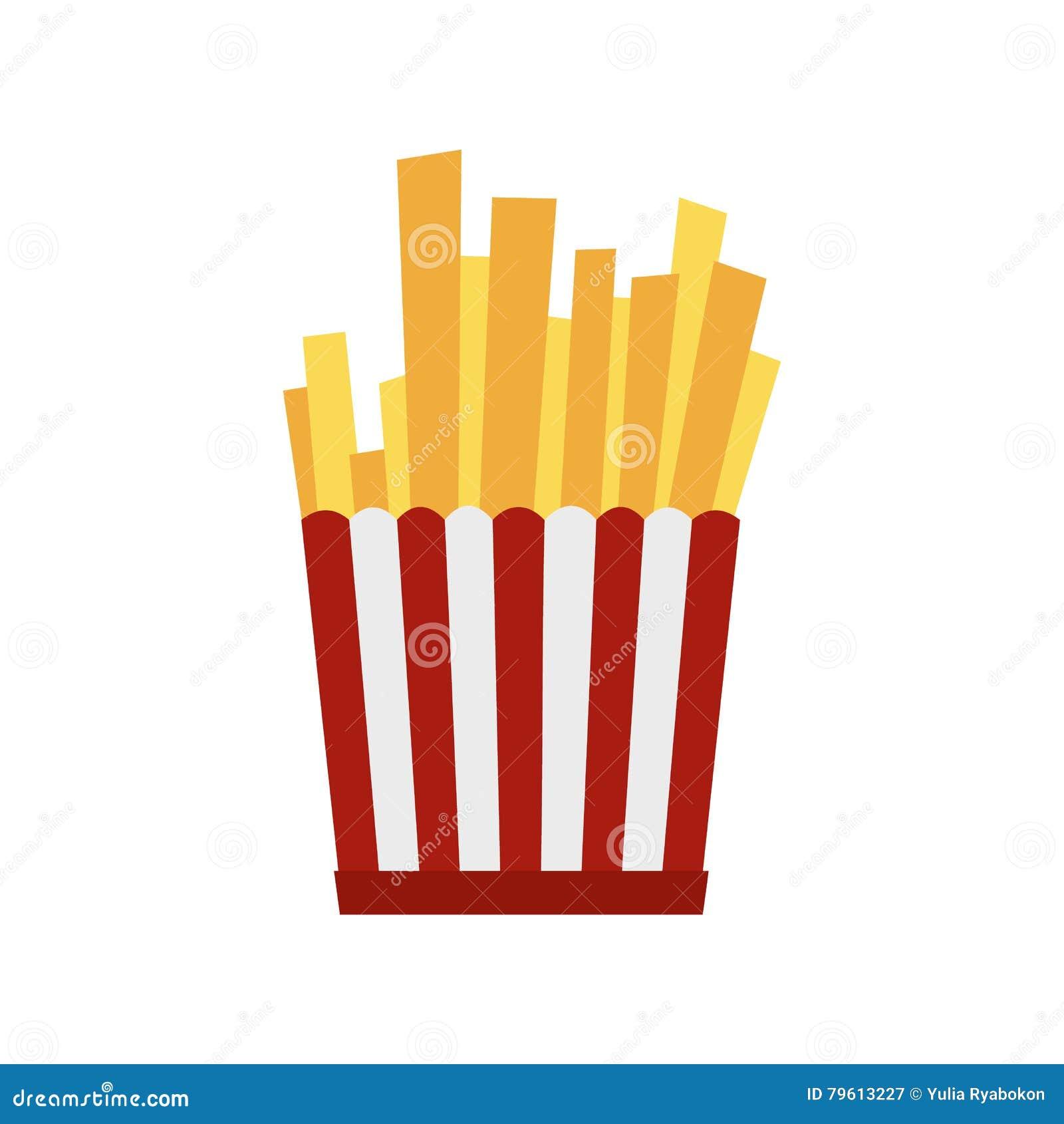 Batatas fritas na caixa de papel listrada vermelha e branca