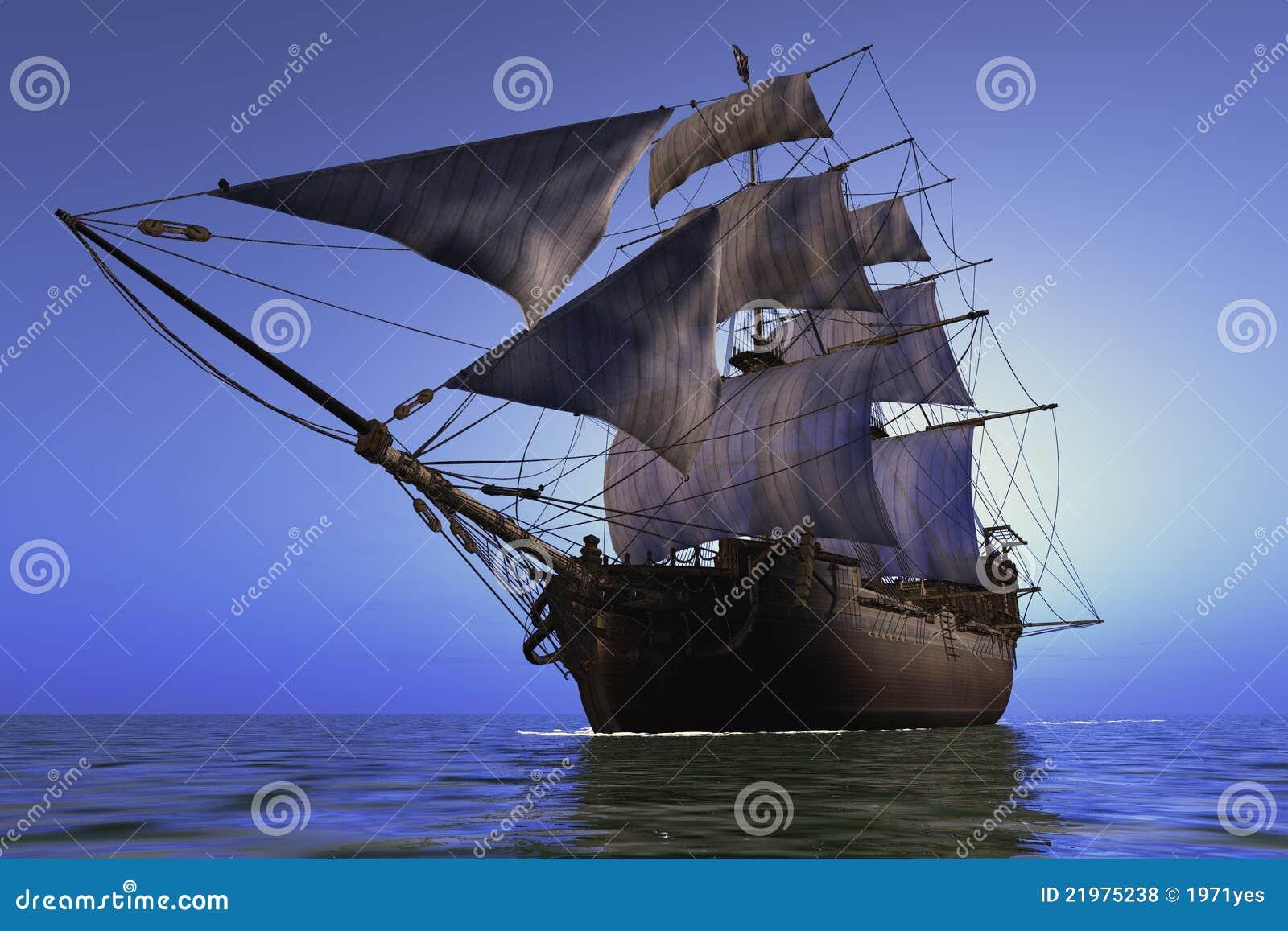 Bateau à voiles en mer.