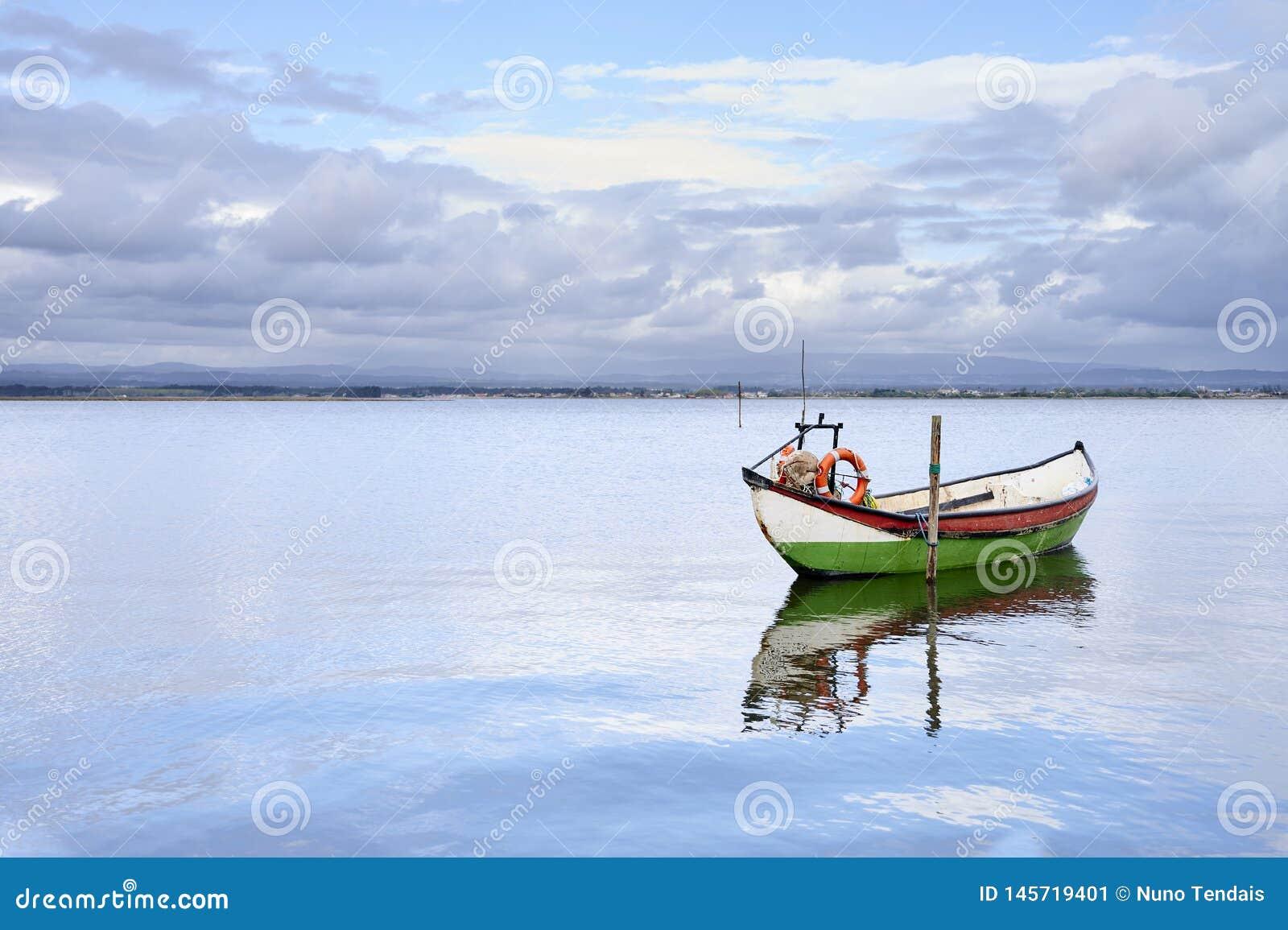 Bateau accroché au milieu He lac
