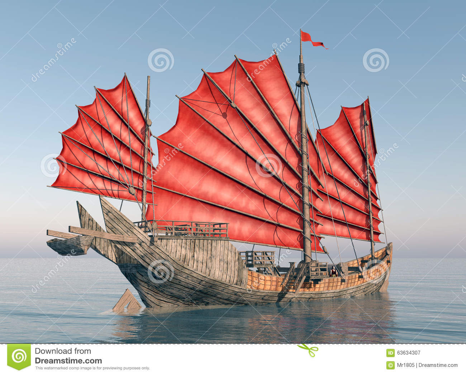 bateau chinois d 39 ordure illustration stock image 63634307. Black Bedroom Furniture Sets. Home Design Ideas