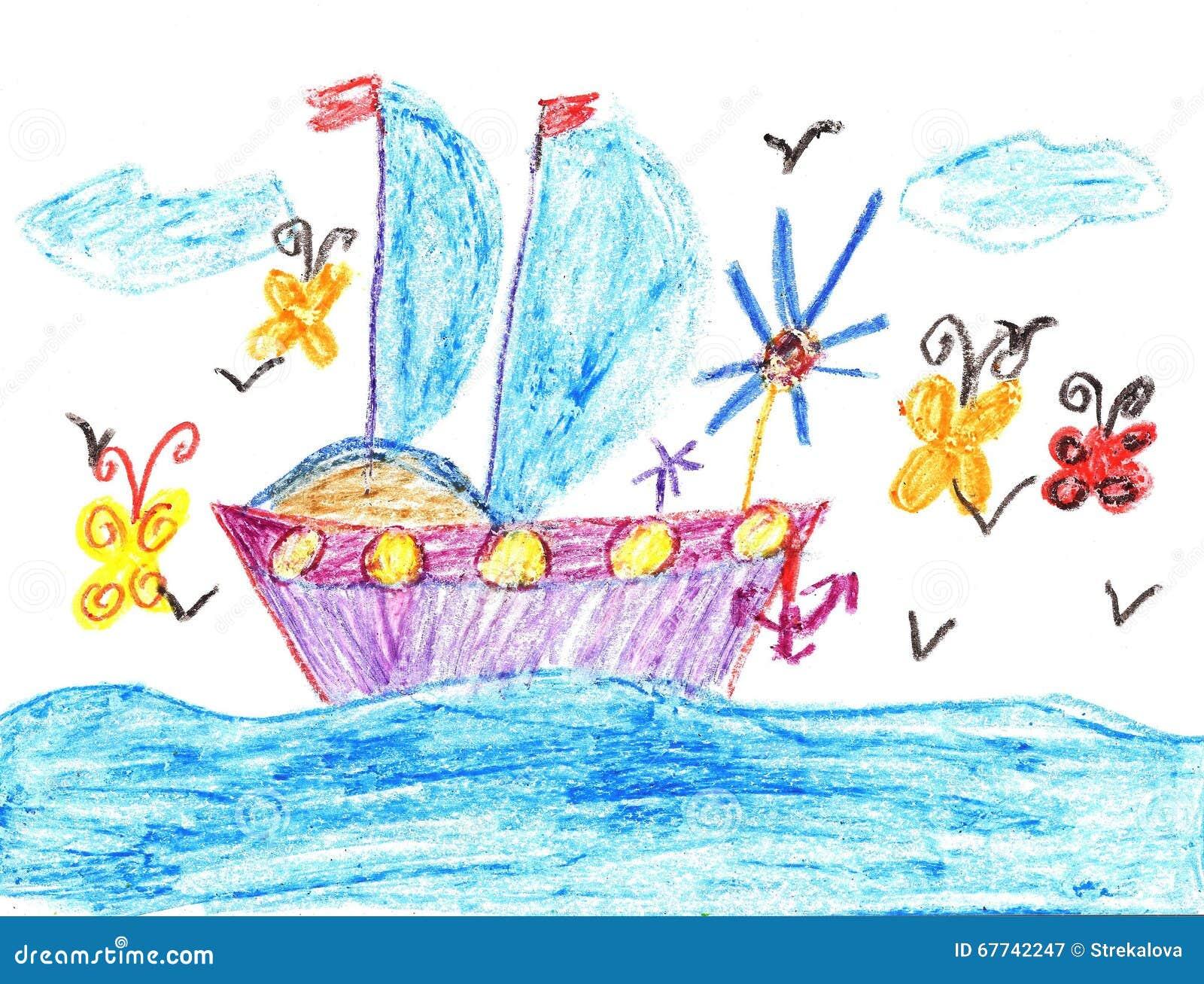 Bateau De Dessin D Enfant En Mer Illustration Stock Illustration Du Enfant Dessin 67742247