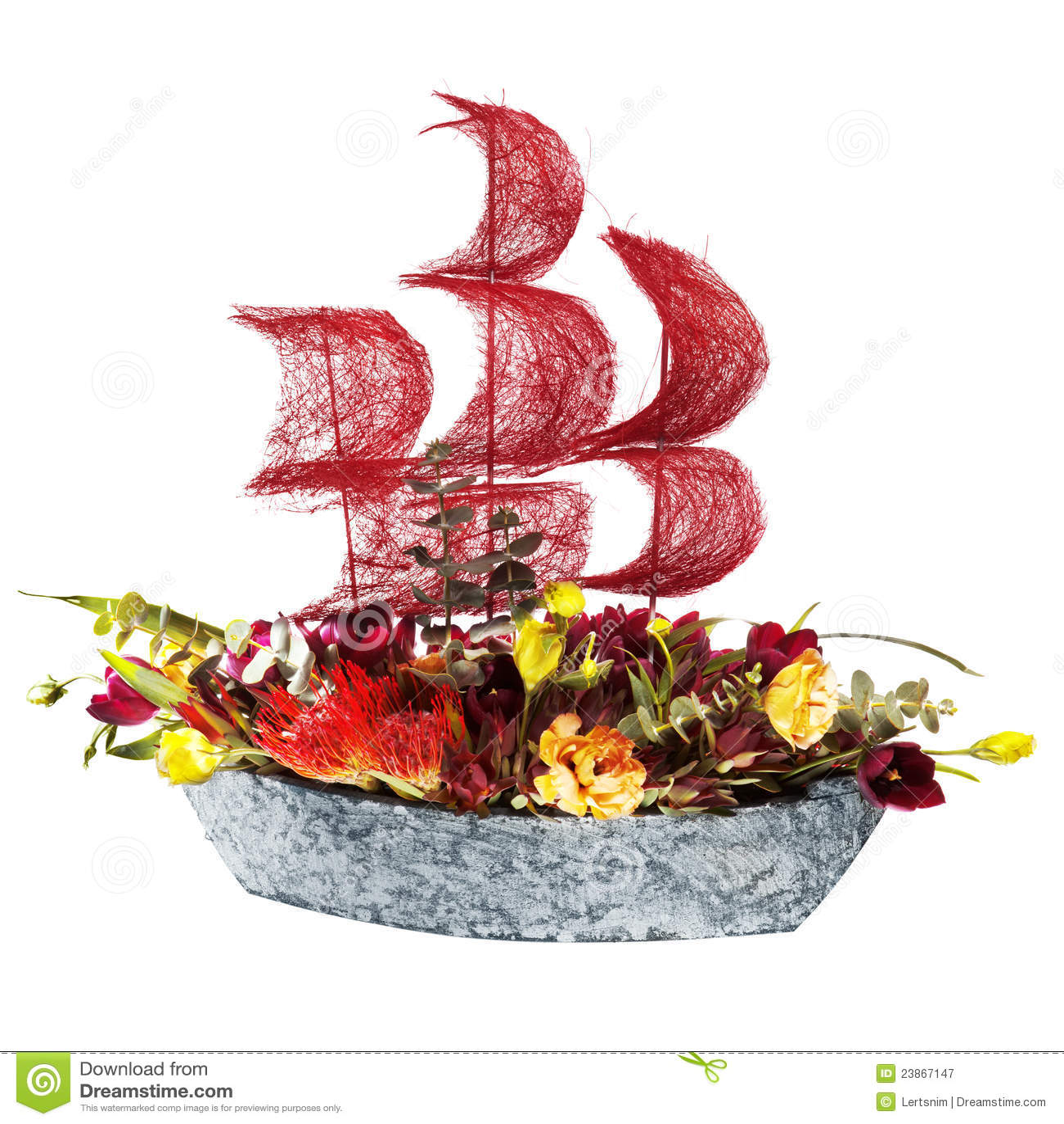bateau de fleurs de d coration avec les voiles cramoisies photographie stock libre de droits. Black Bedroom Furniture Sets. Home Design Ideas