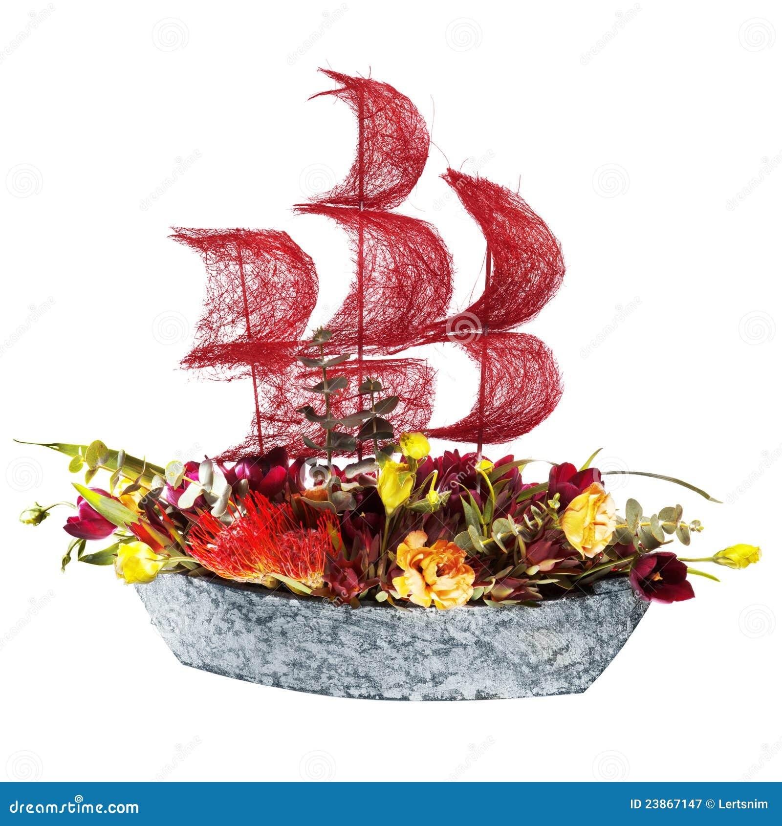 bateau de fleurs de d coration avec les voiles cramoisies. Black Bedroom Furniture Sets. Home Design Ideas