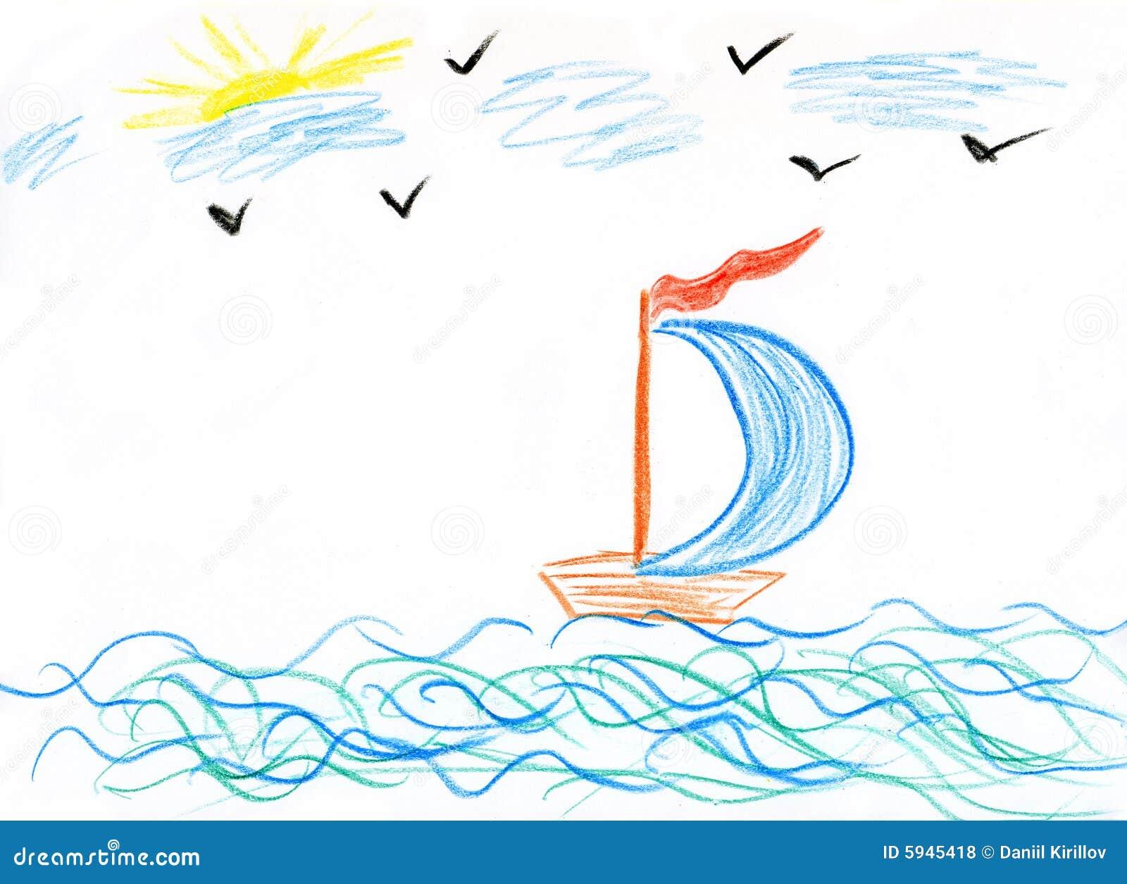Bateau de la peinture des enfants en mer