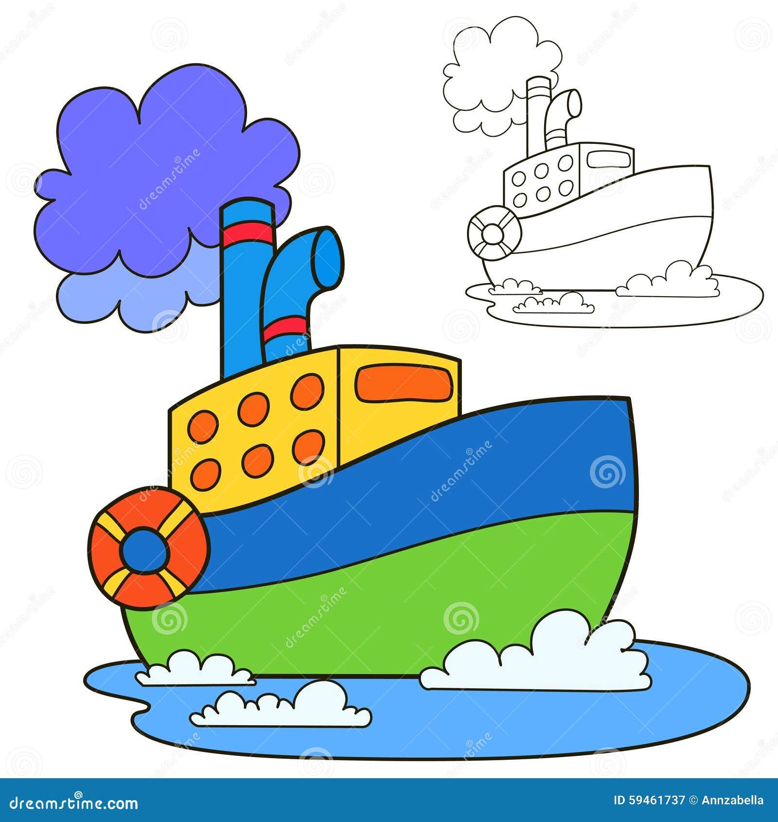 Bateau de moteur page de livre de coloriage illustration de vecteur illustration du couleur - Dessin bateau enfant ...