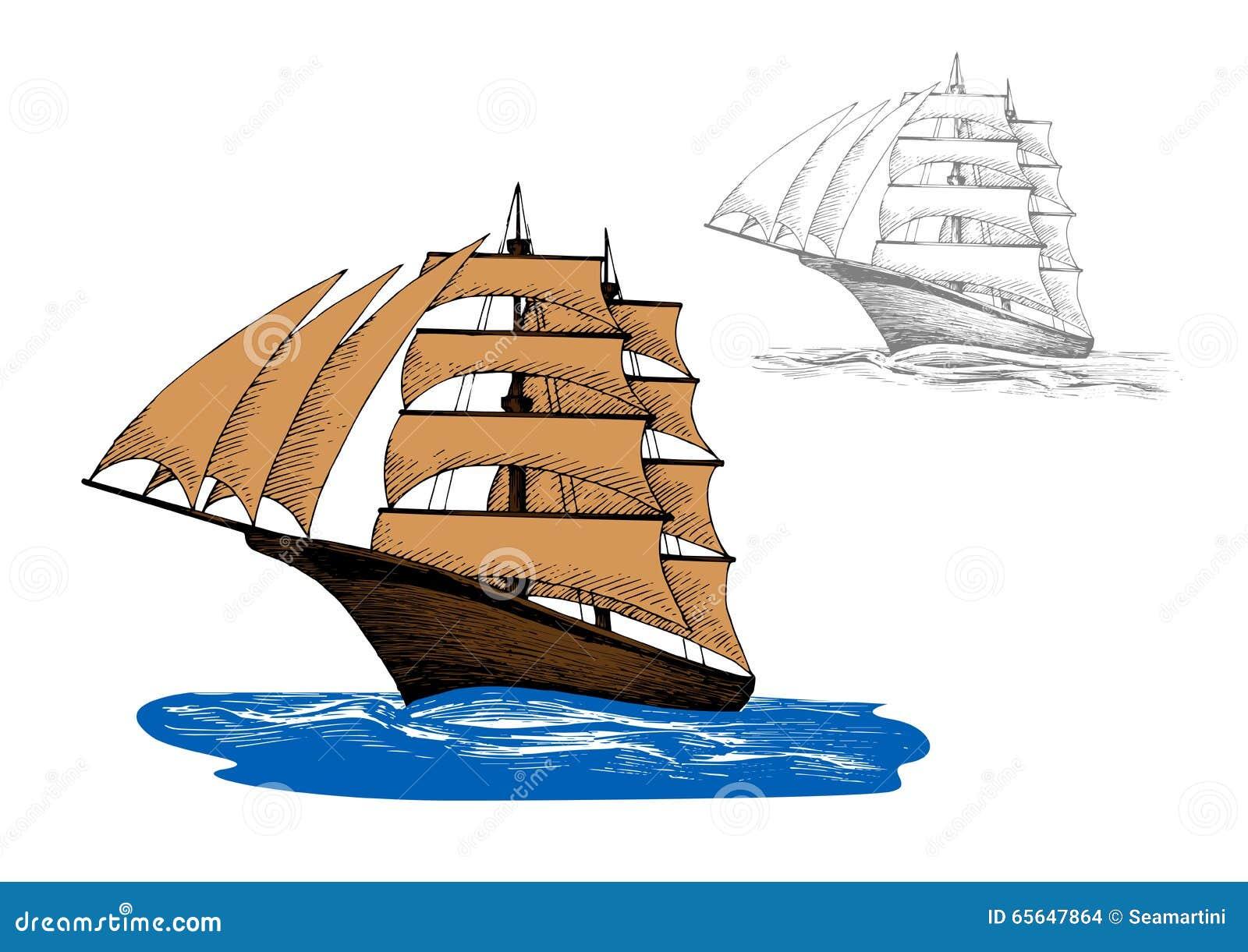 Bateau de navigation parmi les ressacs bleus