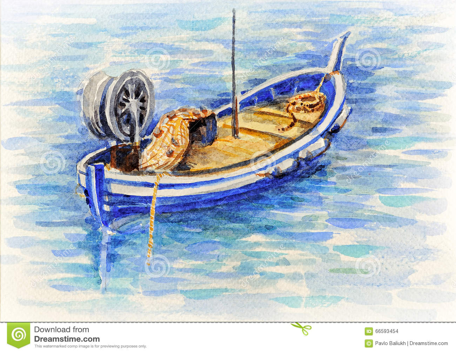 bateau de p che de photo d 39 aquarelle en mer m diterran e illustration stock image 66593454. Black Bedroom Furniture Sets. Home Design Ideas