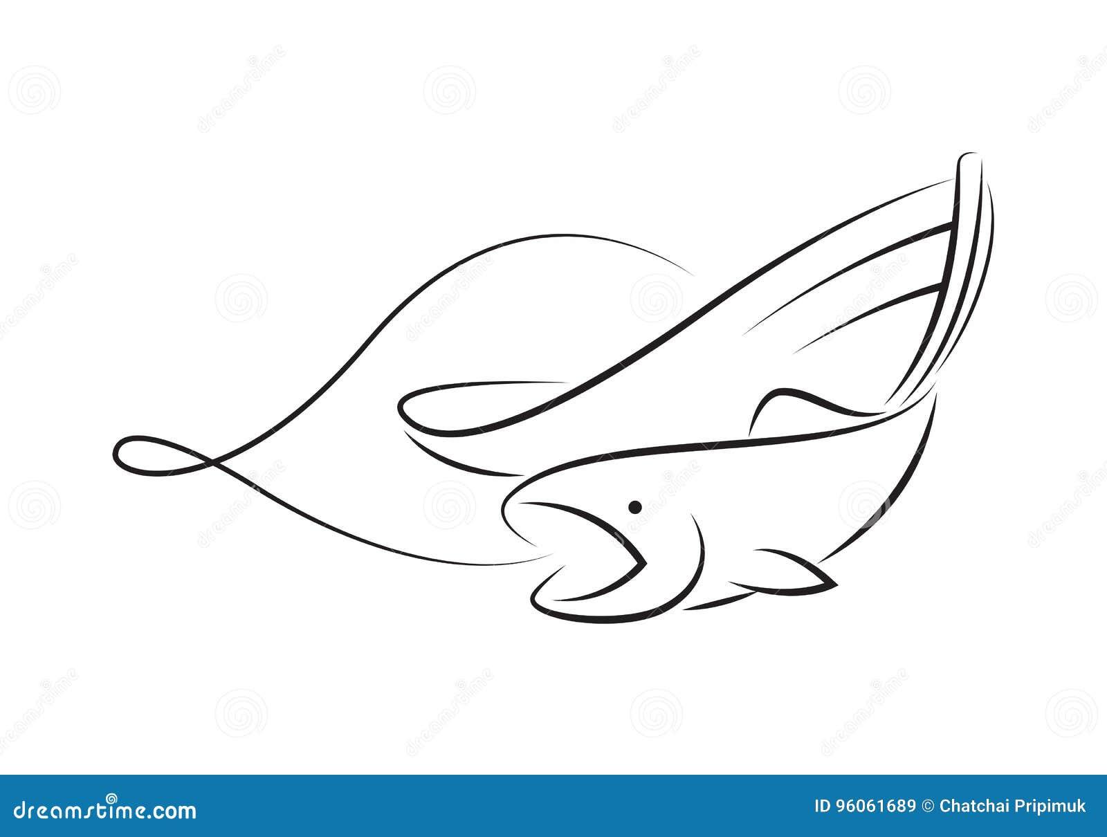 Bateau de pêche graphique d ensemble, vecteur