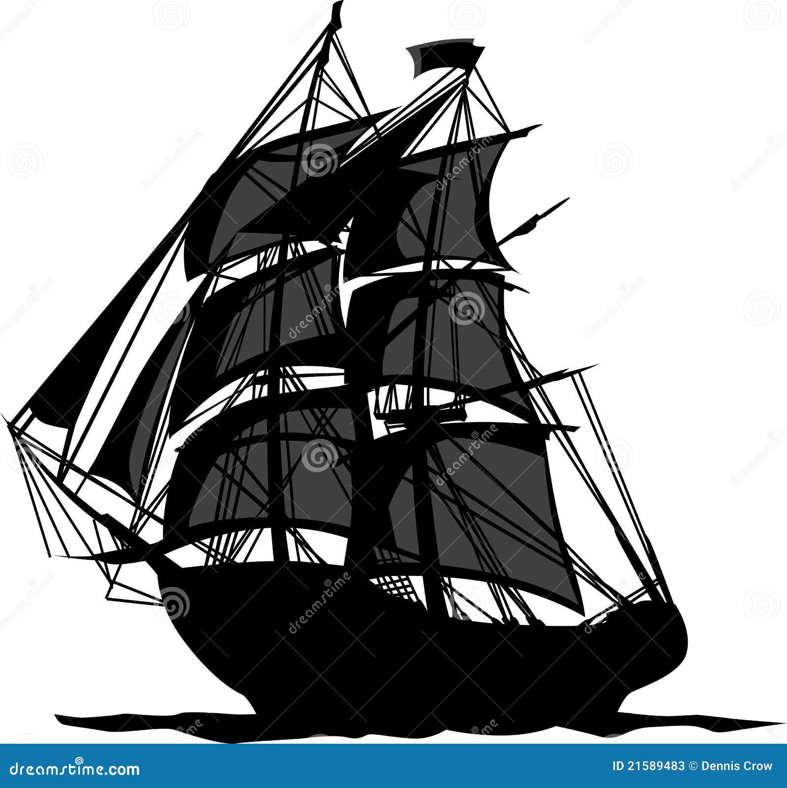 Bateau de pirate avec l 39 illustration de voiles photos - Voile bateau pirate ...