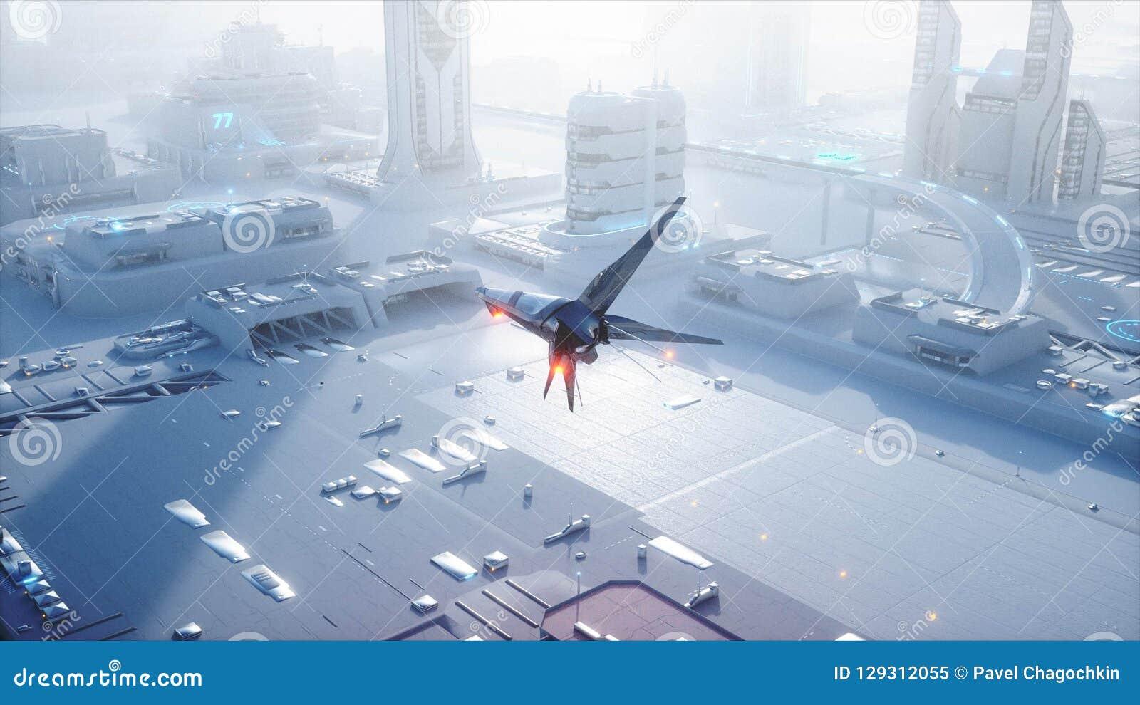 Bateau de Sci fi au-dessus de ville futuriste de brouillard Silhouette d homme se recroquevillant d affaires Concept d avenir ren
